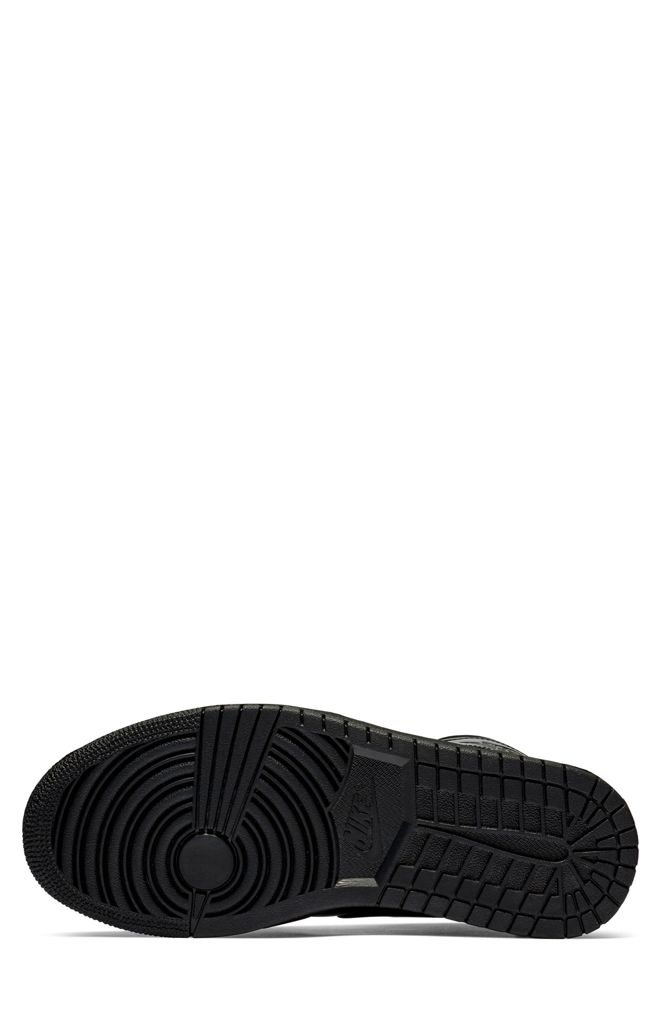 JORDAN, Nike Air Jordan 1 Mid Sneaker, Alternate thumbnail 5, color, BLACK/ BLACK/ BLACK