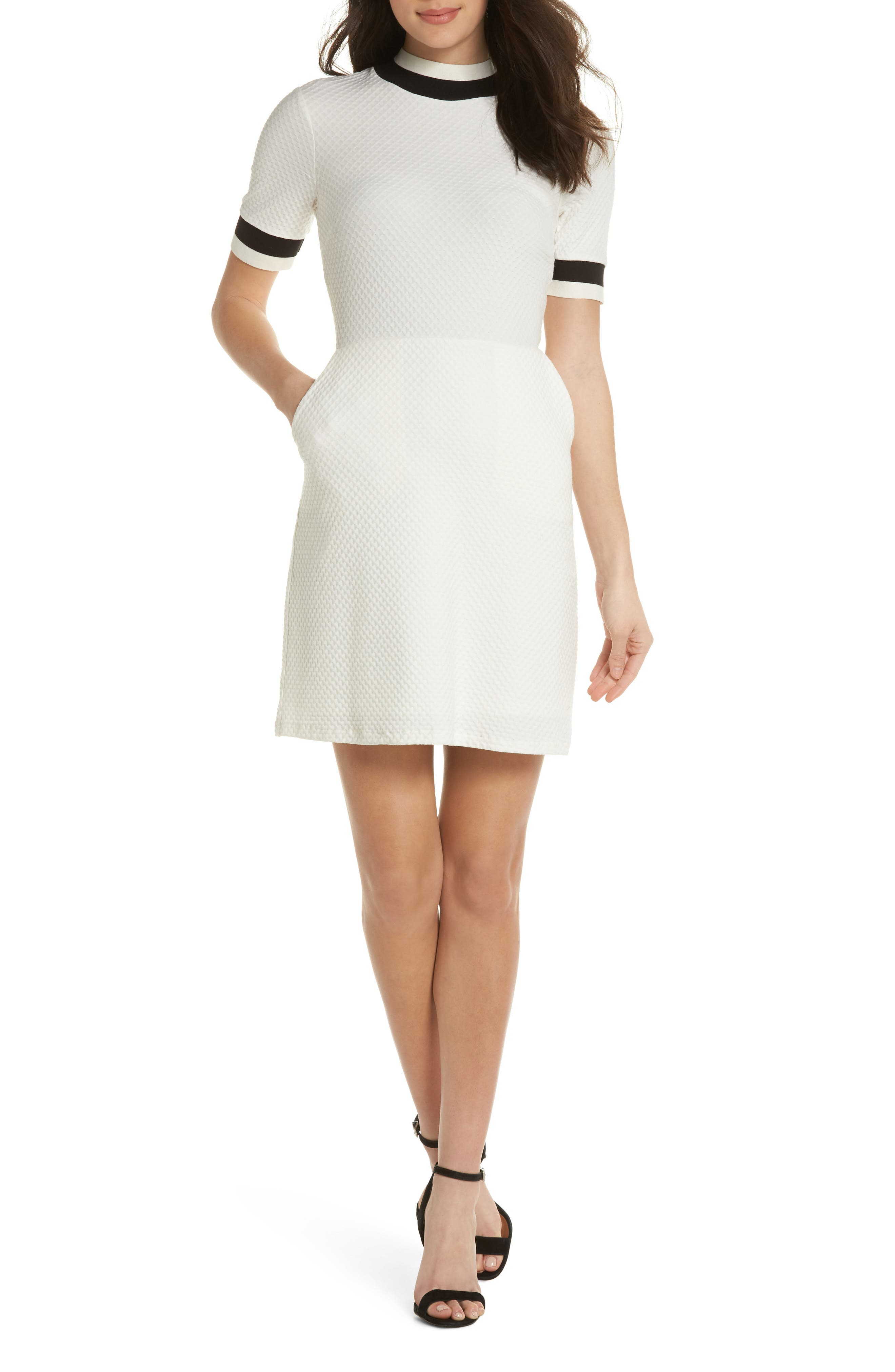 FRENCH CONNECTION, Savos Sudan Jersey Dress, Main thumbnail 1, color, BLACK/ SUMMER WHITE