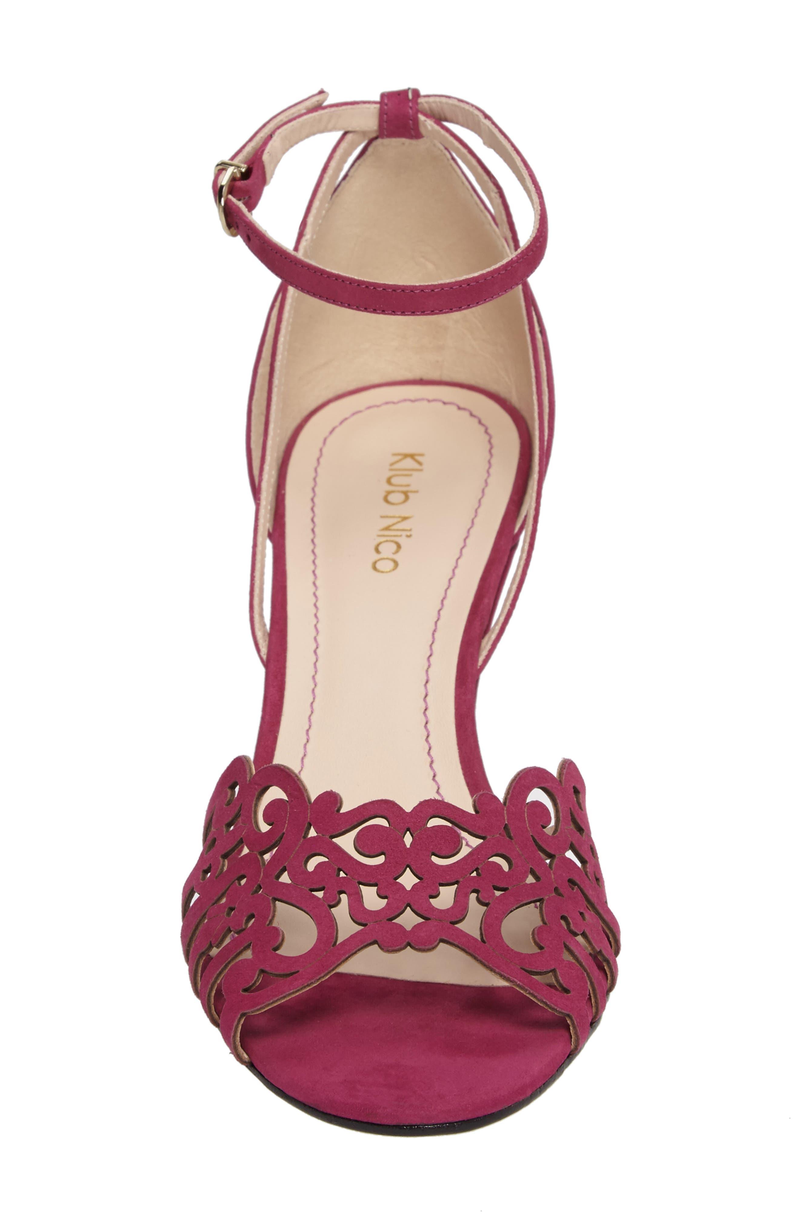 KLUB NICO, 'Kingston' Ankle Strap Wedge Sandal, Alternate thumbnail 4, color, MAGENTA LEATHER