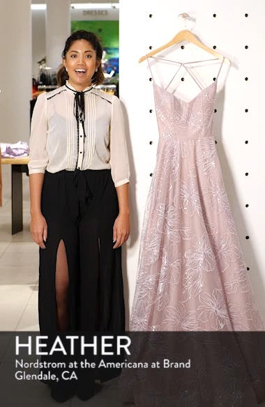 Metallic Floral Embellished Evening Dress, sales video thumbnail
