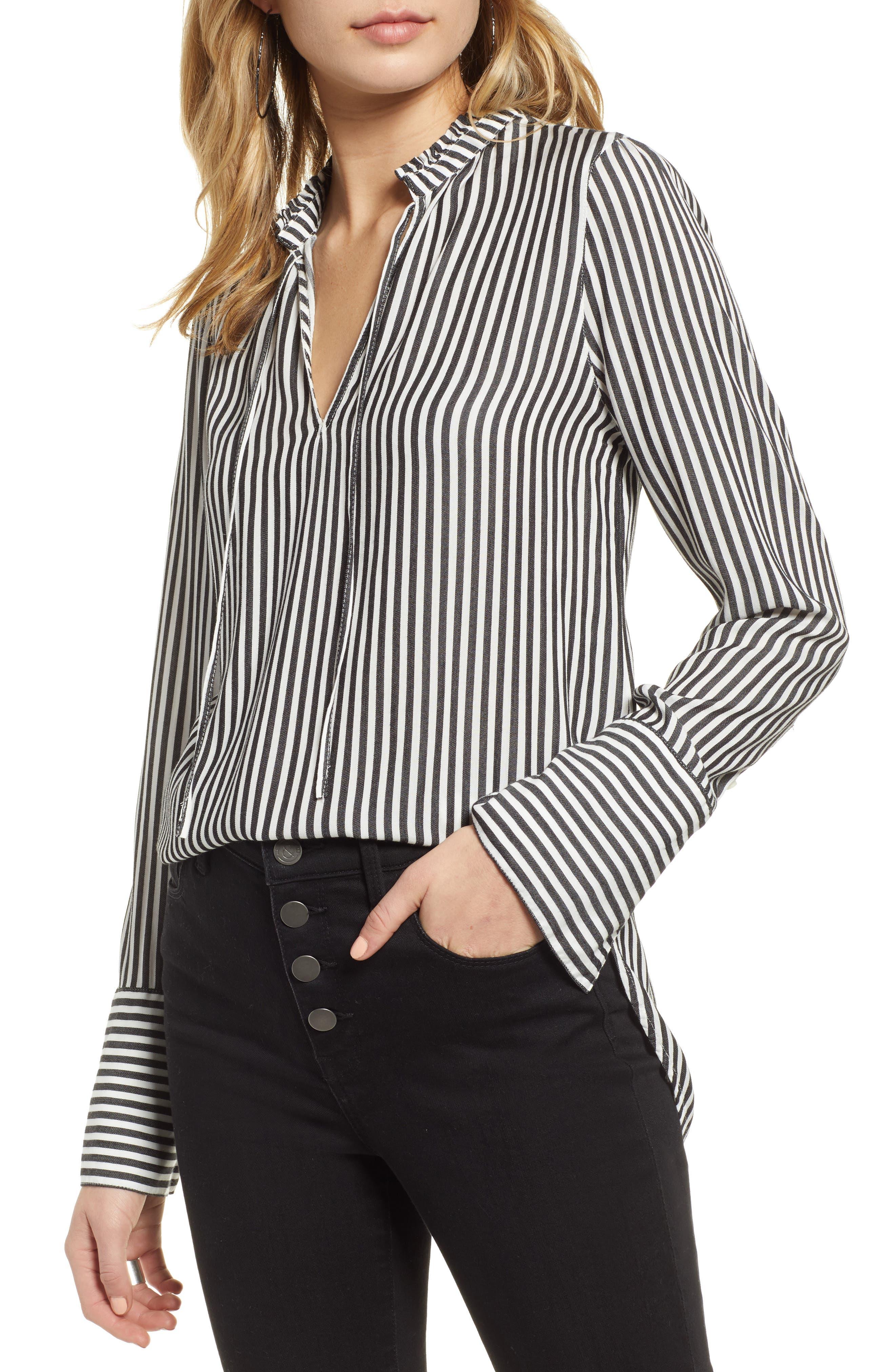 TREASURE & BOND, Stripe Ruffle Neck Shirt, Main thumbnail 1, color, BLACK- WHITE SARA STRIPE