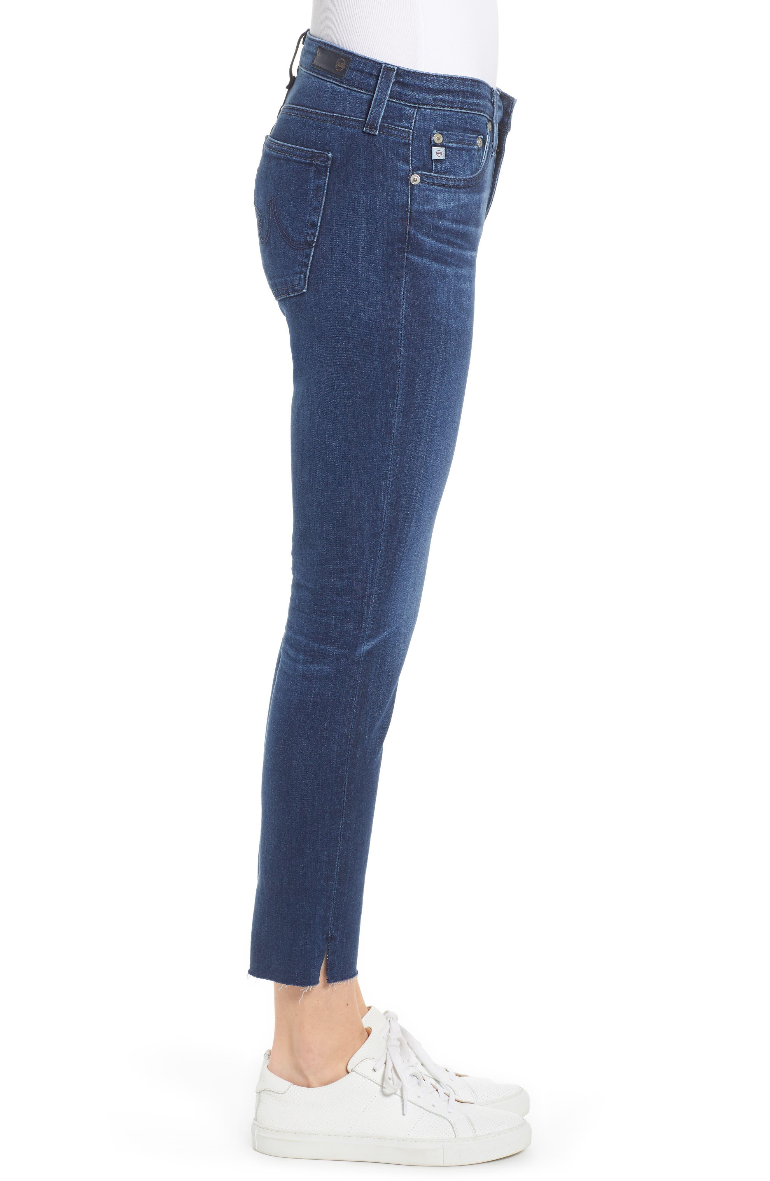 AG, The Prima Raw Hem Crop Jeans, Alternate thumbnail 4, color, 05Y BLUE ESSENCE