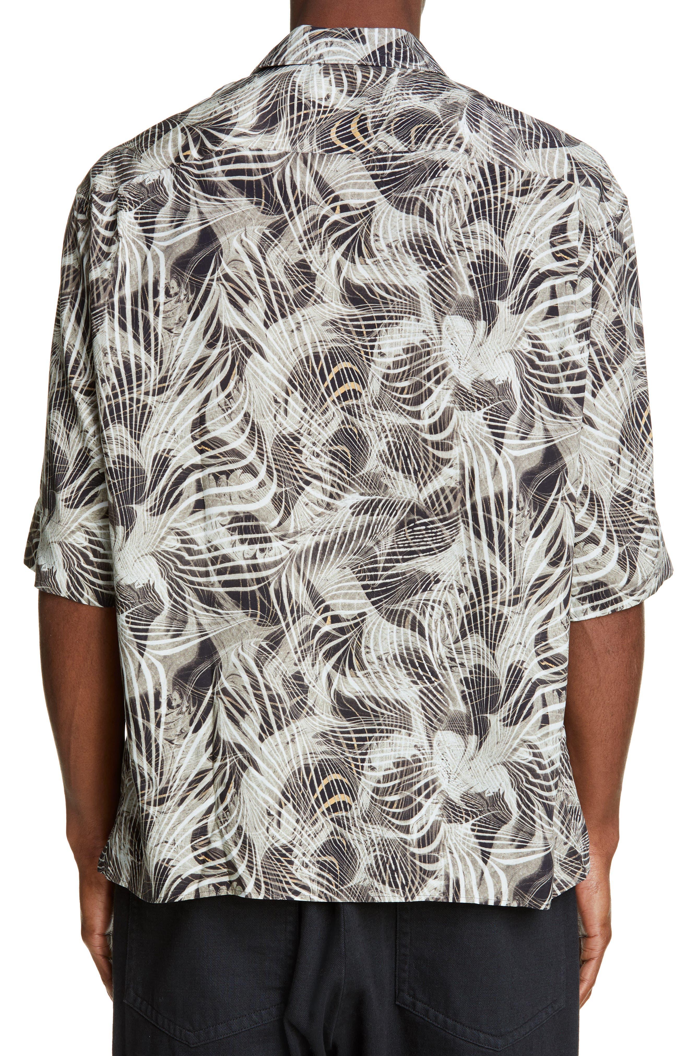 LEMAIRE, Tropical Print Sport Shirt, Alternate thumbnail 2, color, CHALK BLACK