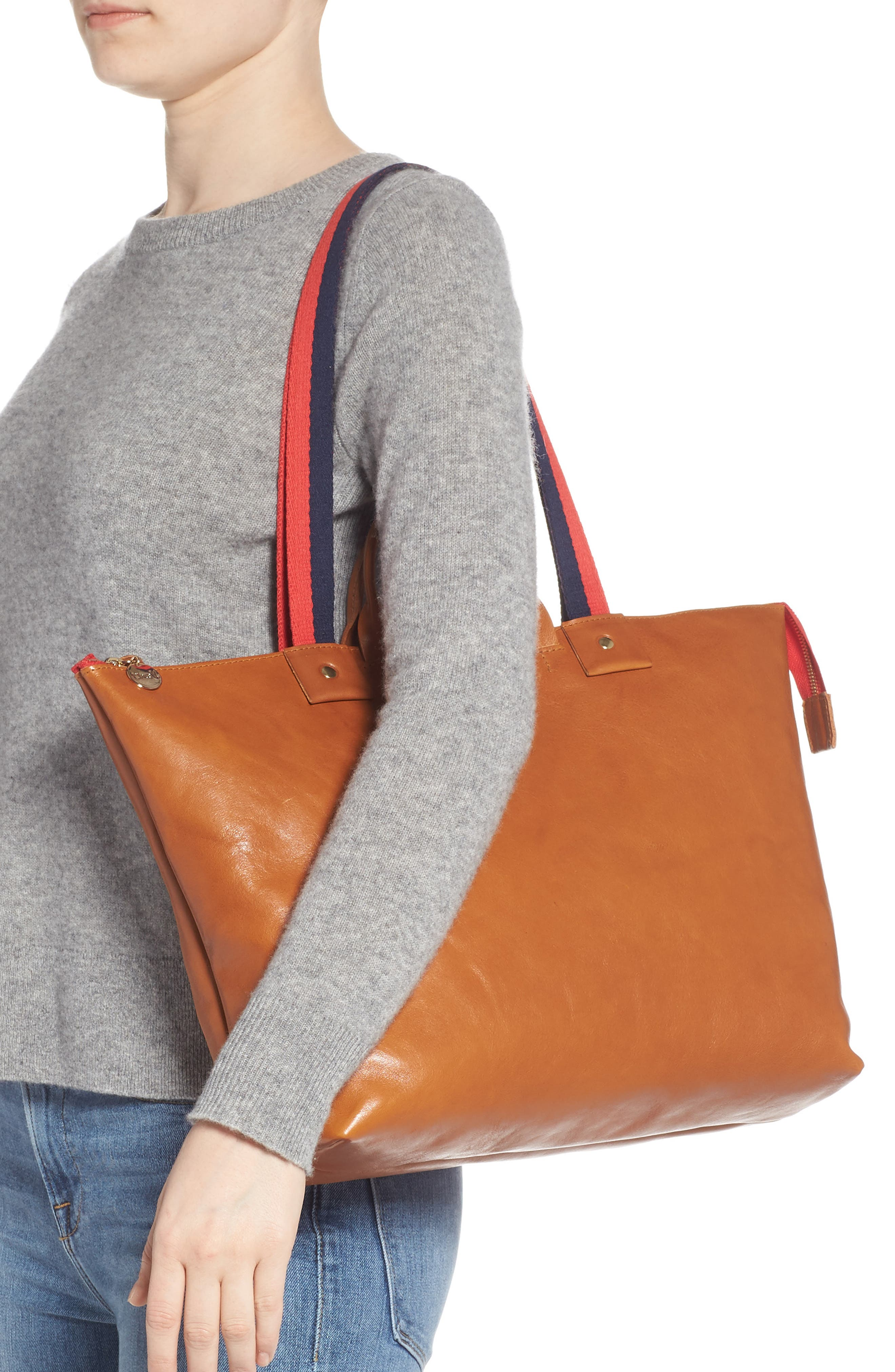 CLARE V., Le Zip Leather Tote, Alternate thumbnail 2, color, MIEL RUSTIC