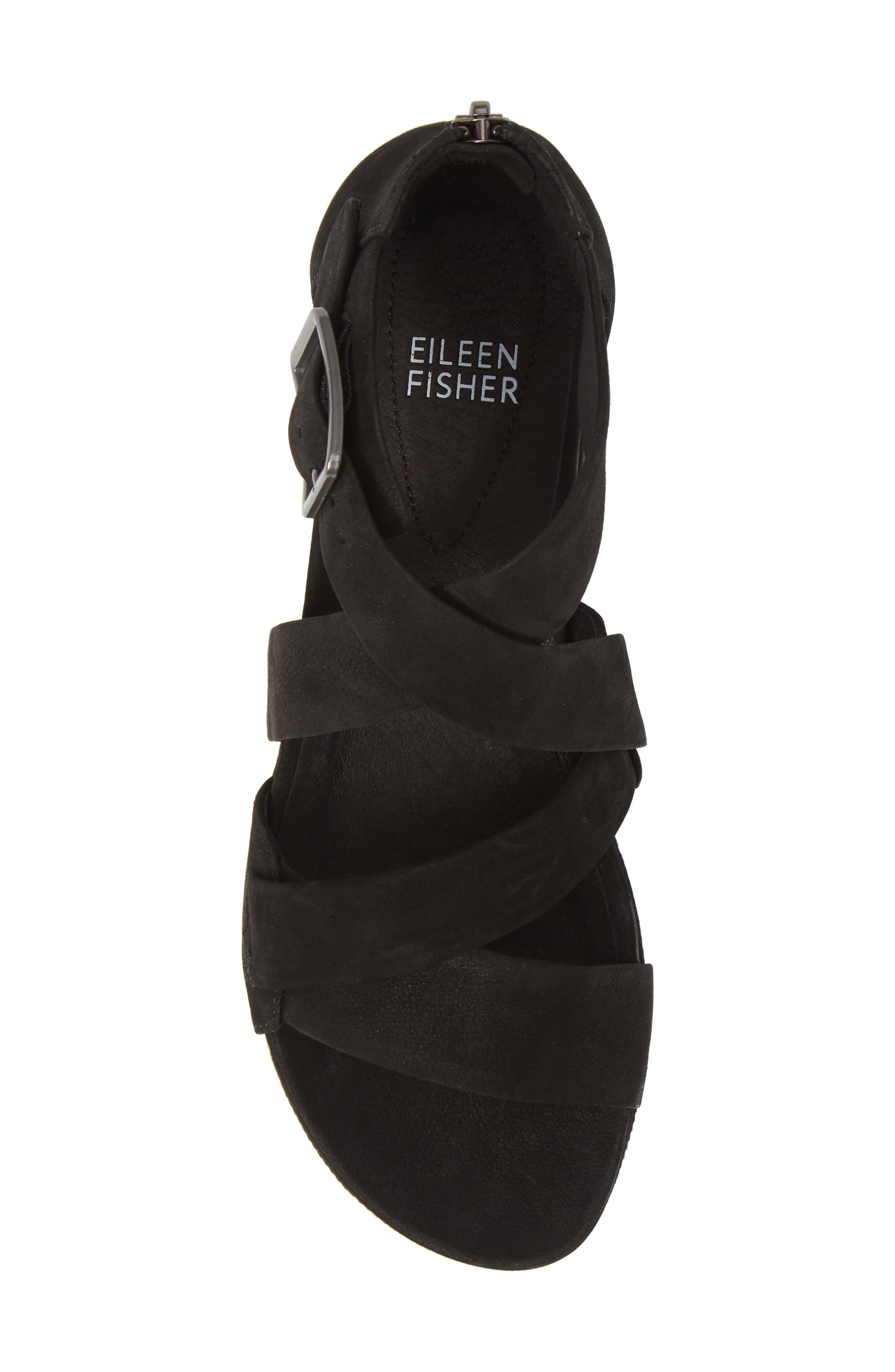 EILEEN FISHER, Boost Wedge Sandal, Alternate thumbnail 5, color, BLACK NUBUCK