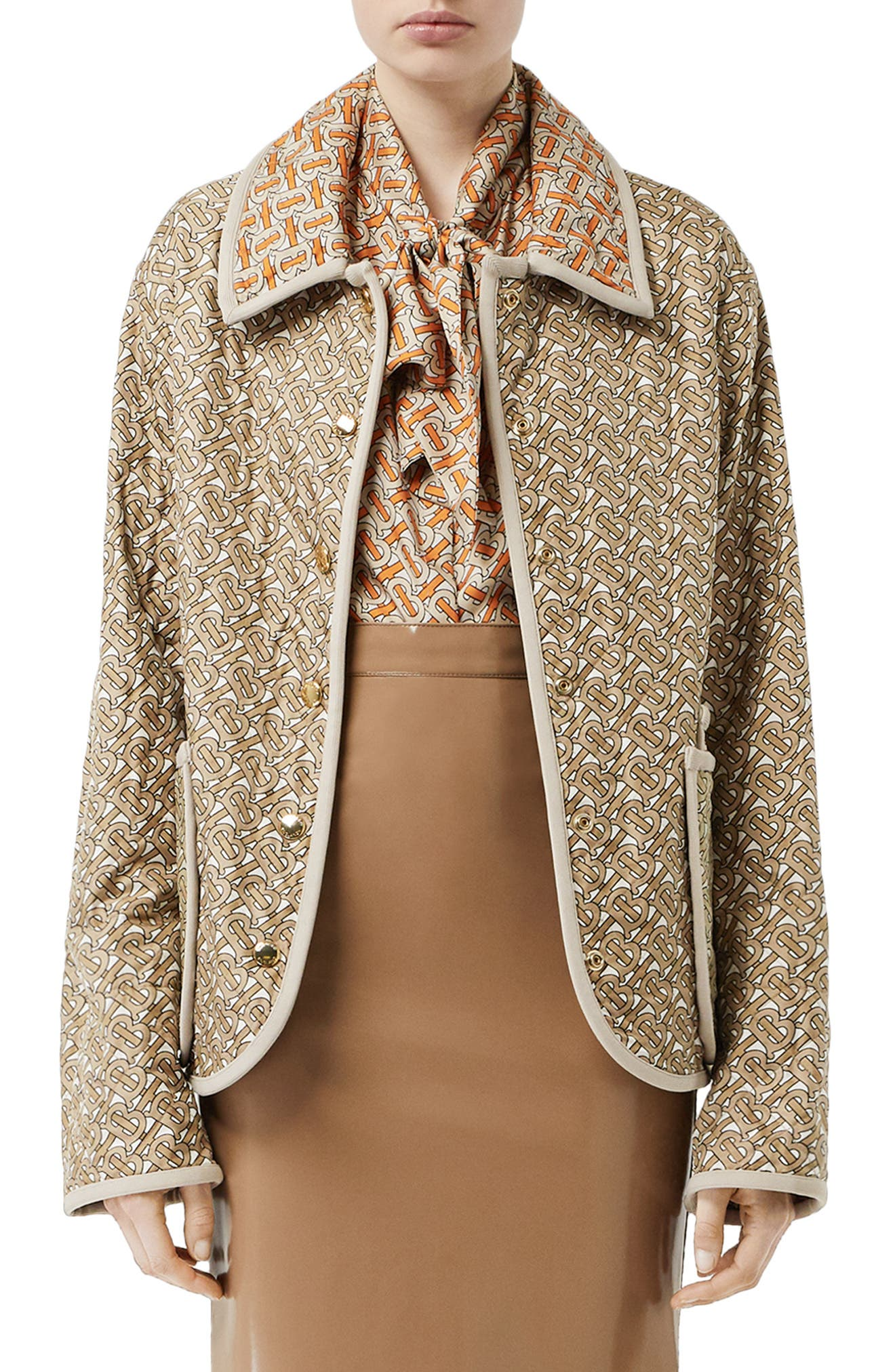 BURBERRY, Monogram Logo Print Quilted Silk Jacket, Main thumbnail 1, color, ARCHIVE BEIGE