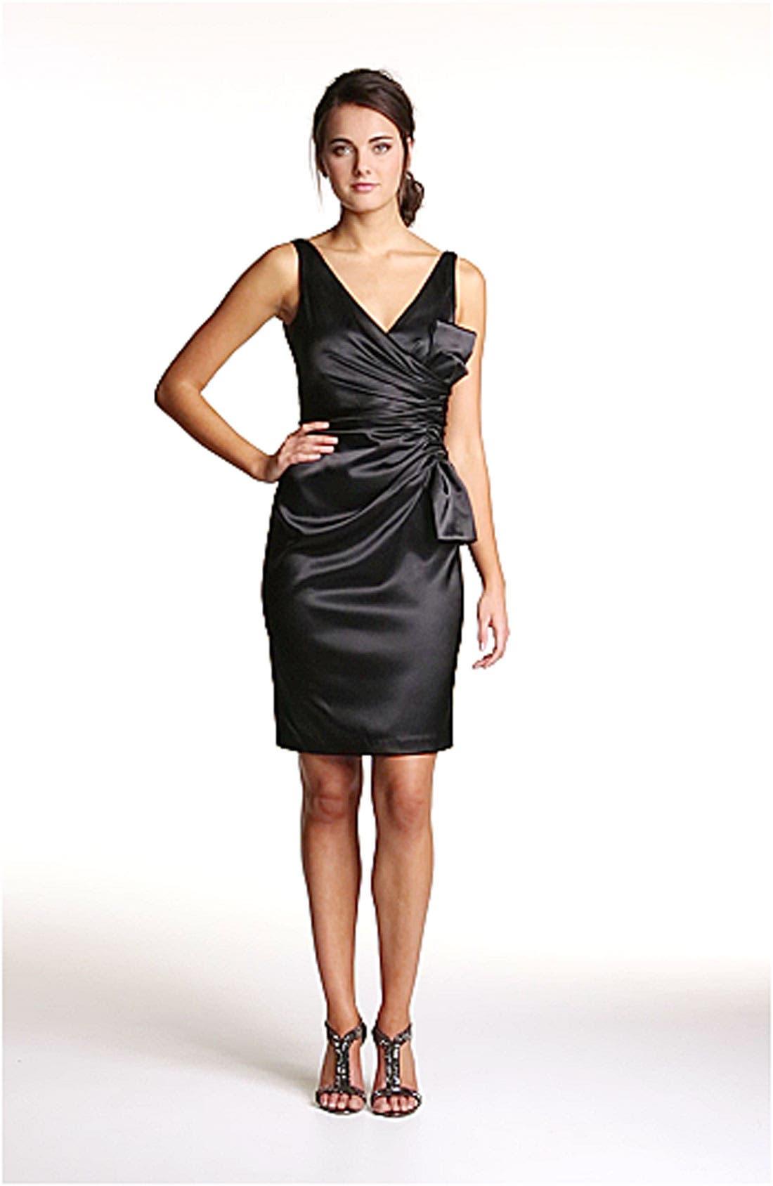 MAGGY LONDON, Side Bow Stretch Satin Sheath Dress, Alternate thumbnail 2, color, 001