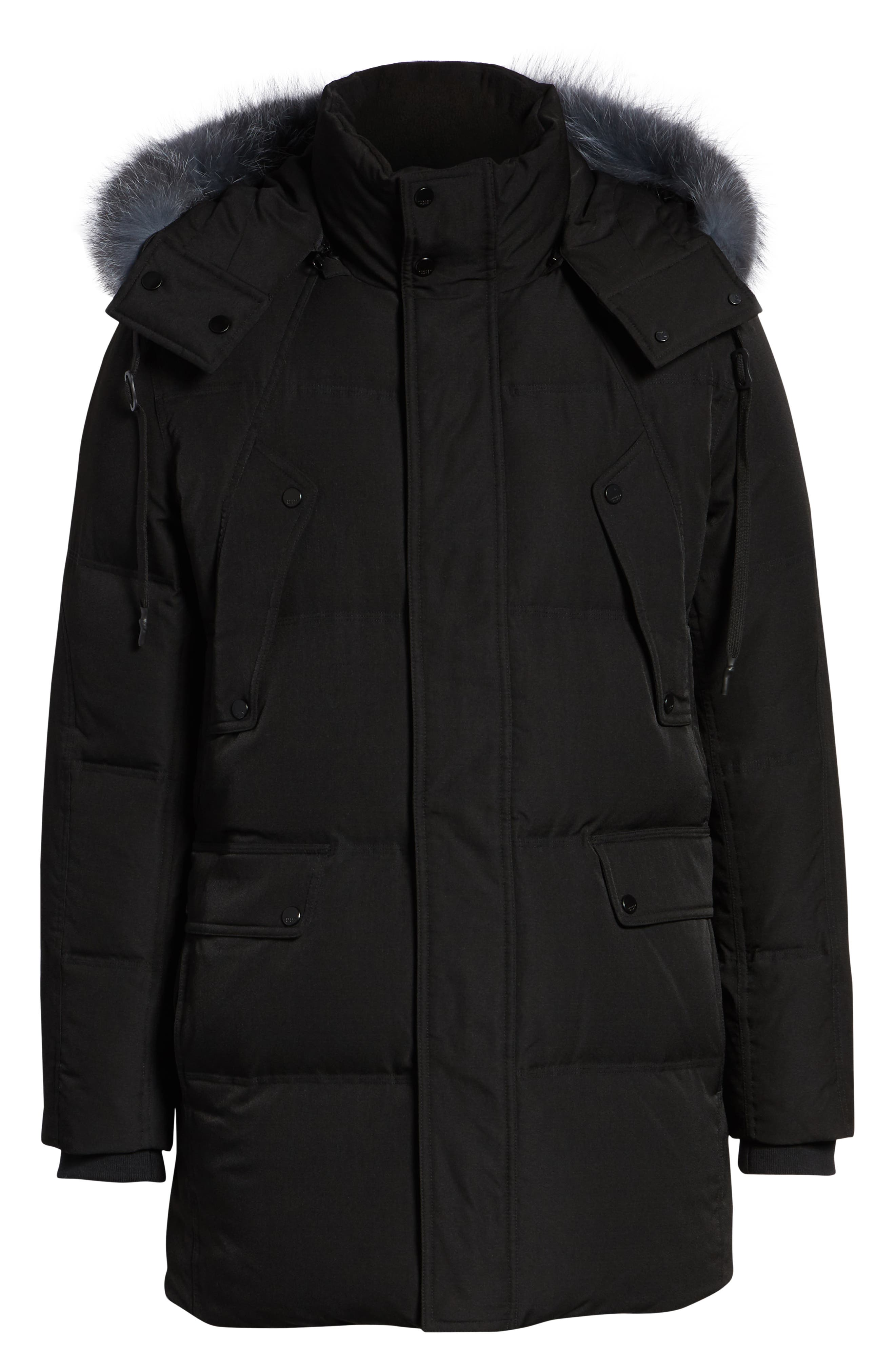 MARC NEW YORK, Bohlen Down & Feather Bomber Jacket with Removable Genuine Coyote Fur Trim Hood, Alternate thumbnail 6, color, BLACK