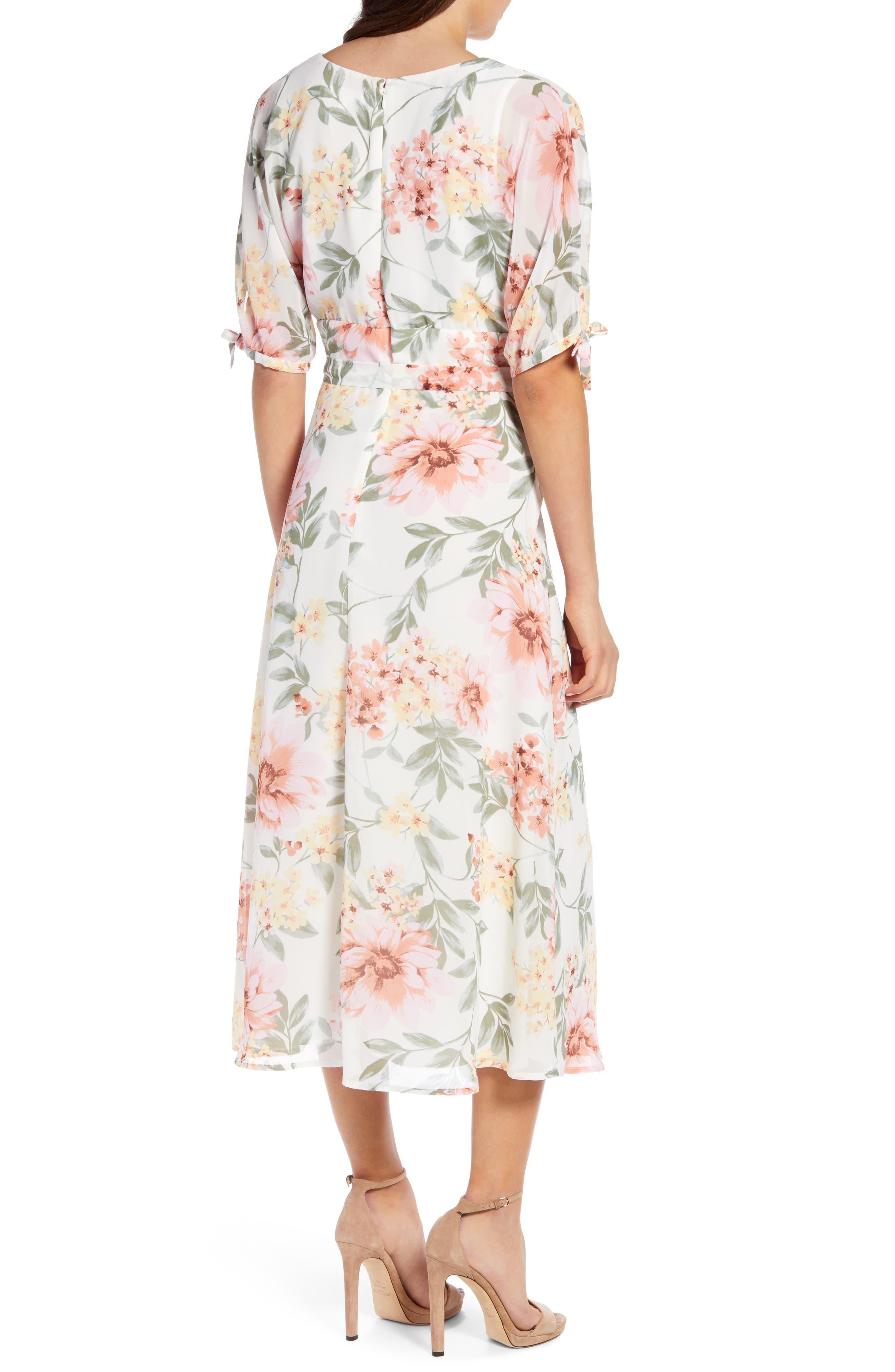 JUNE & HUDSON, Floral V-Neck Tie Front Dress, Alternate thumbnail 2, color, IVORY/ ROSE/ SAGE