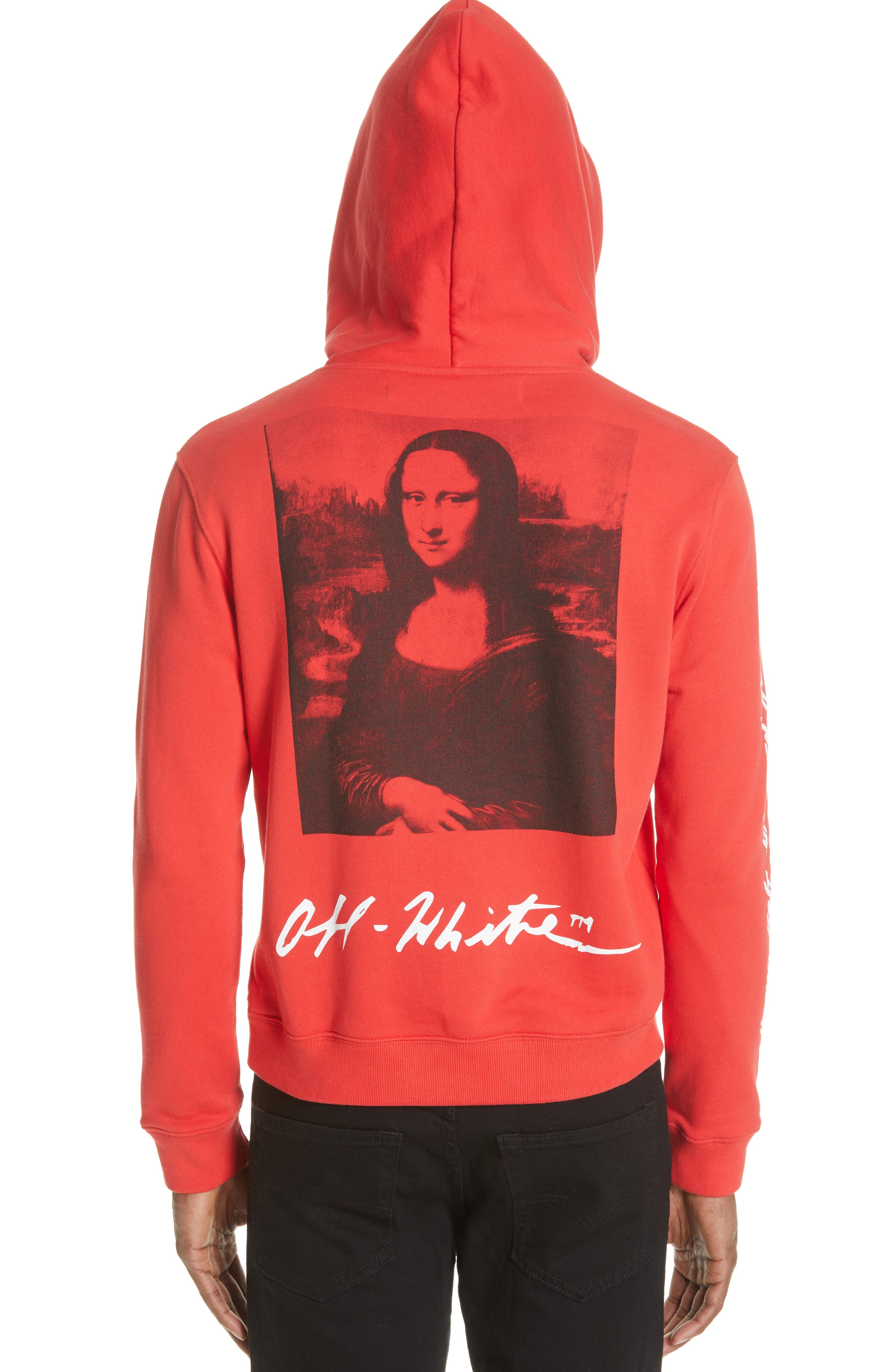 OFF-WHITE, Monnalisa Slim Fit Graphic Hoodie, Alternate thumbnail 2, color, RED