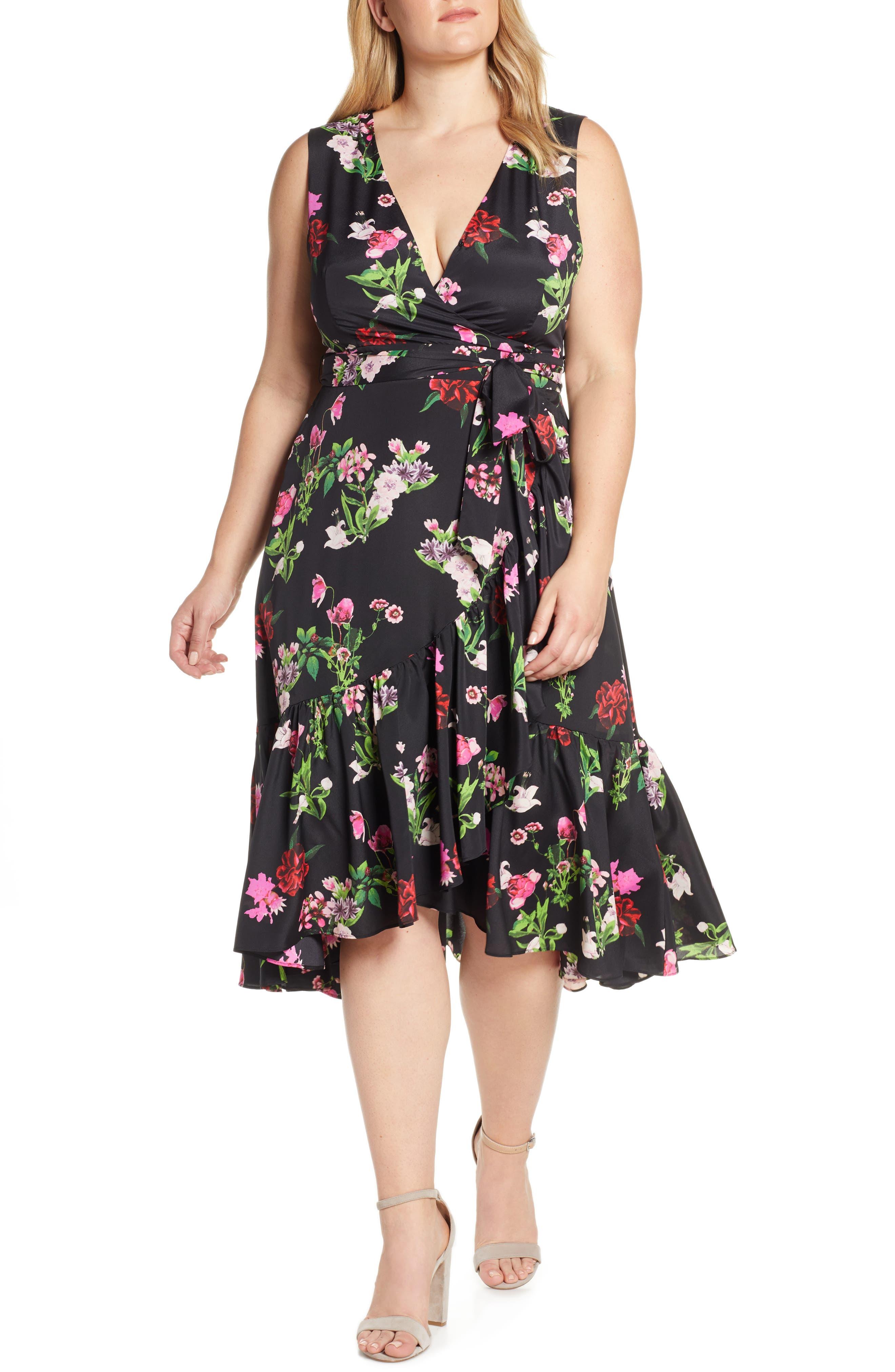 ELIZA J, Ruffle Hem Faux Wrap Dress, Alternate thumbnail 2, color, BLACK