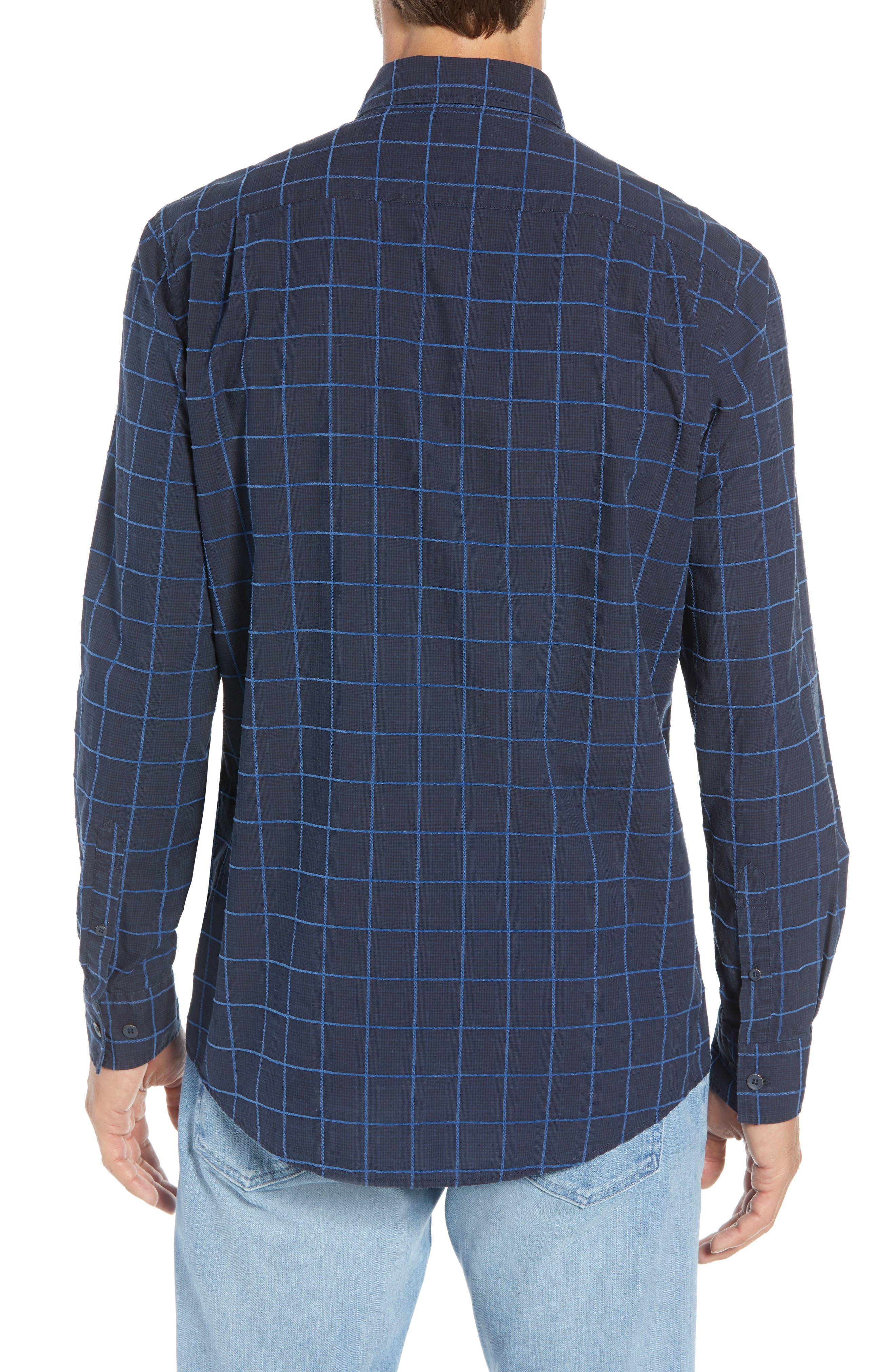 RODD & GUNN, Hindley Creek Regular Fit Sport Shirt, Alternate thumbnail 3, color, NAVY