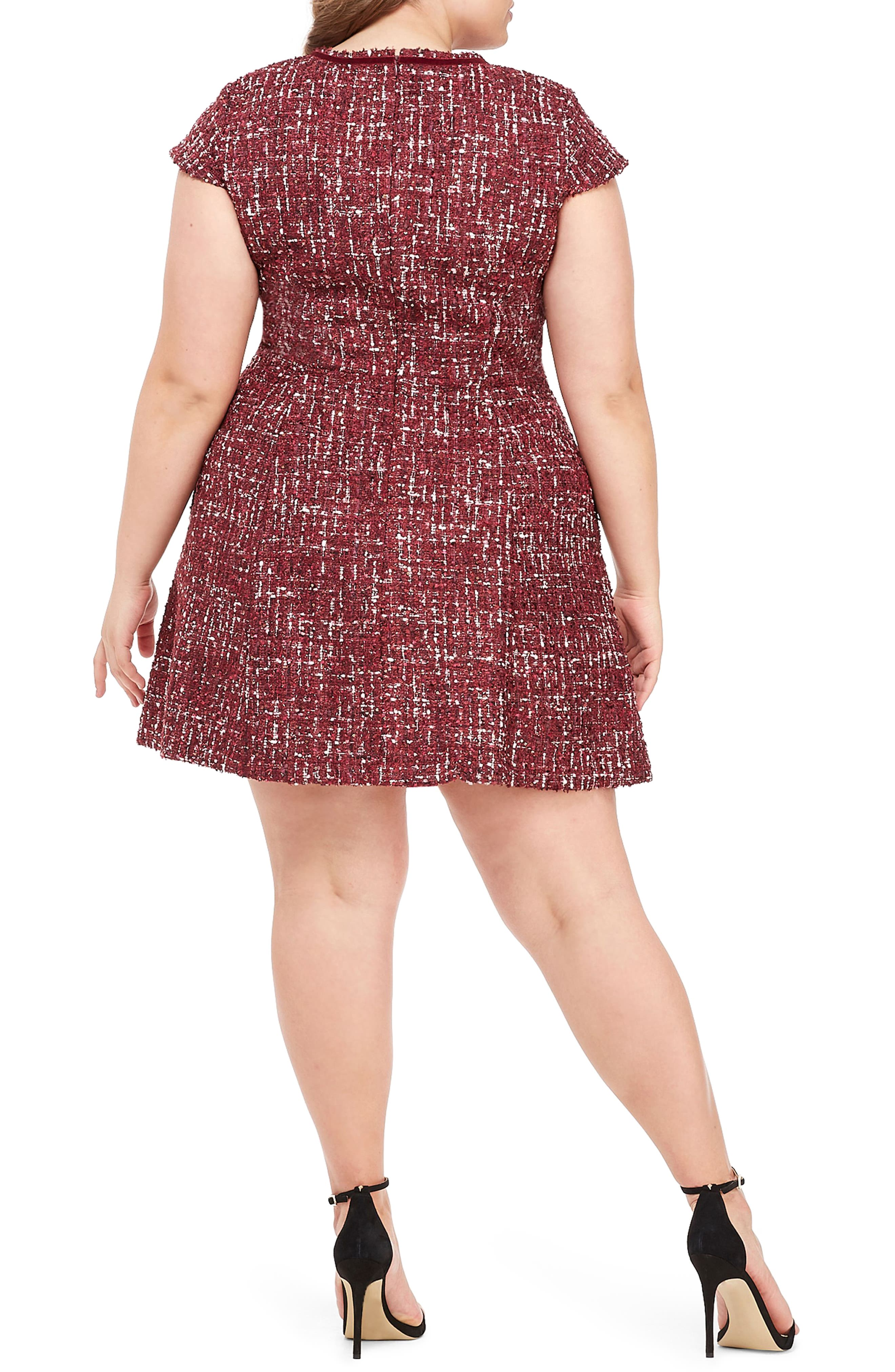 GAL MEETS GLAM COLLECTION, Nell Bouclé Dreams Tweed Fit & Flare Dress, Alternate thumbnail 6, color, 650