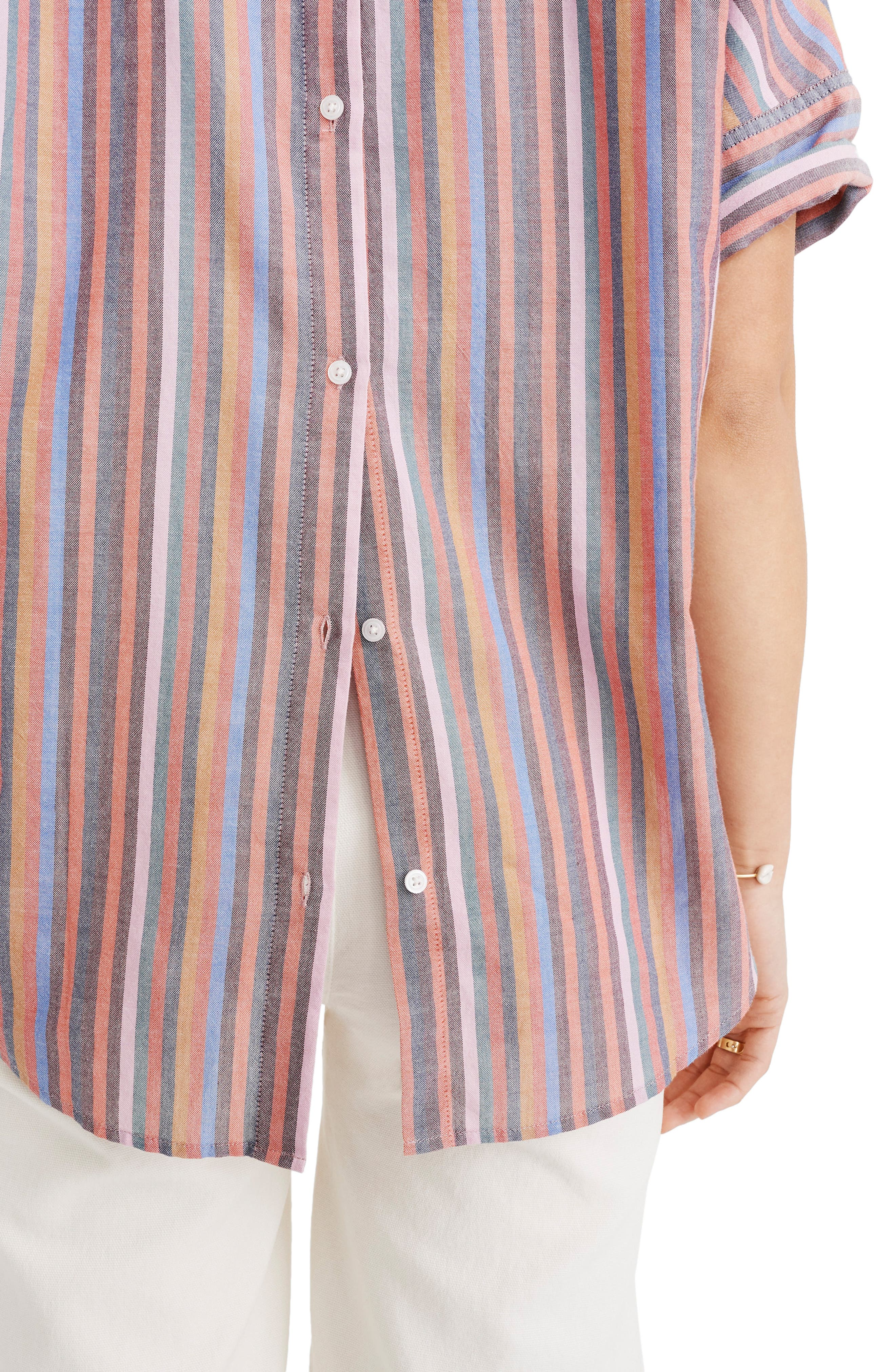 MADEWELL, Courier Rainbow Stripe Button Back Shirt, Alternate thumbnail 4, color, MULLED WINE SMITH STRIPE