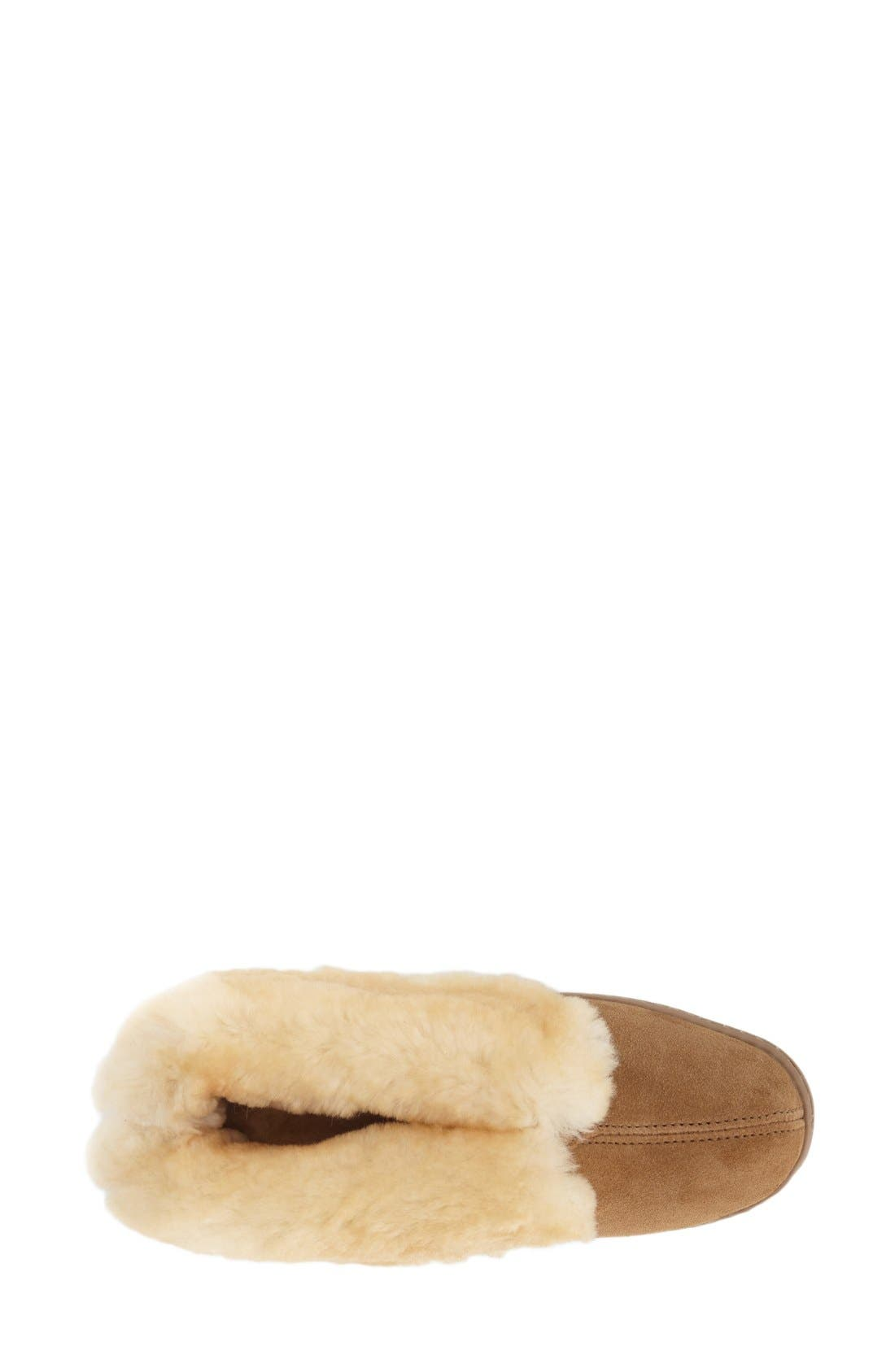 MINNETONKA, Sheepskin Slipper Bootie, Alternate thumbnail 3, color, TAN SUEDE