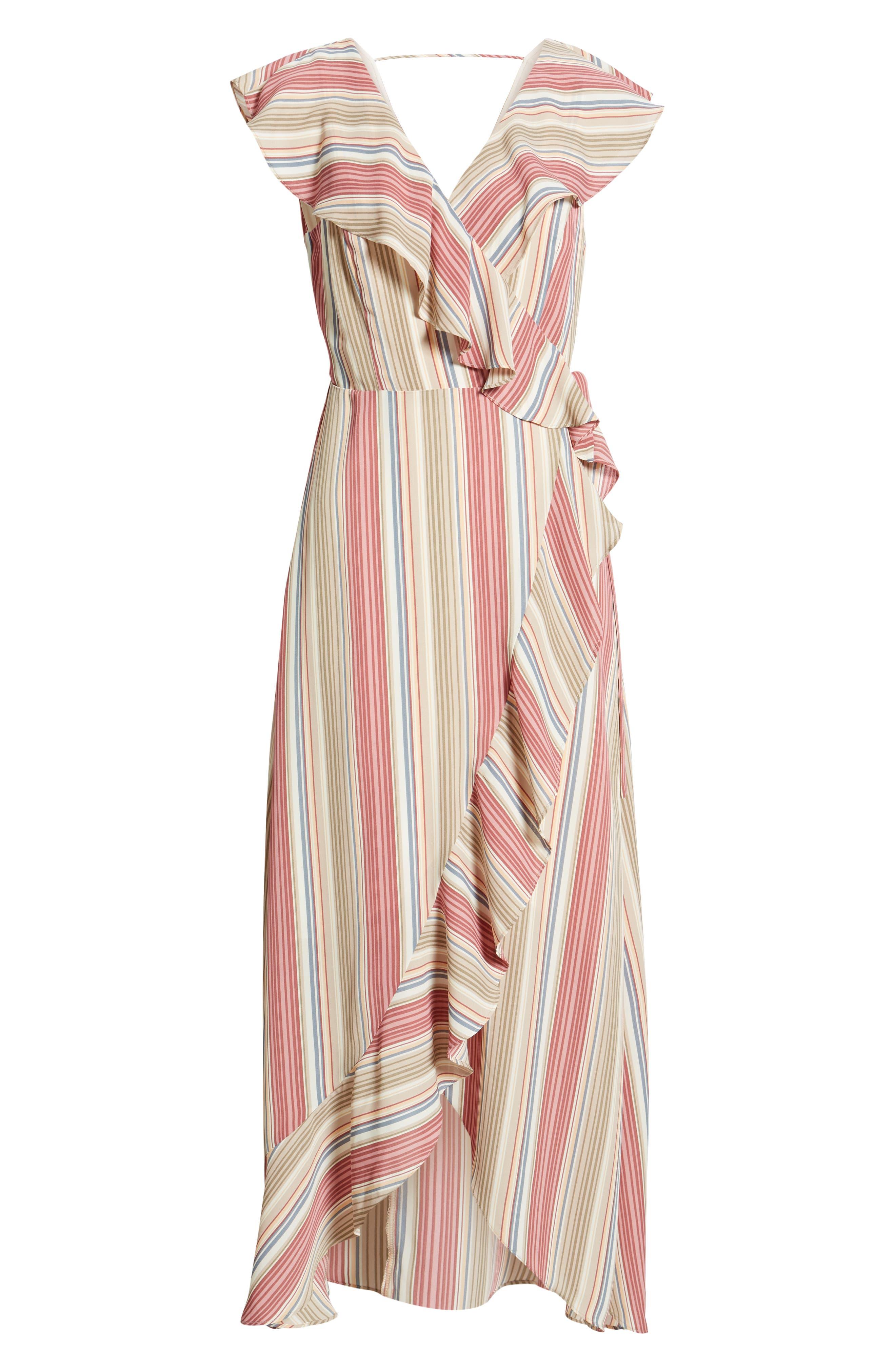 LEITH, Ruffle Wrap Maxi Dress, Alternate thumbnail 7, color, PINK CANYON TONAL STRIPE