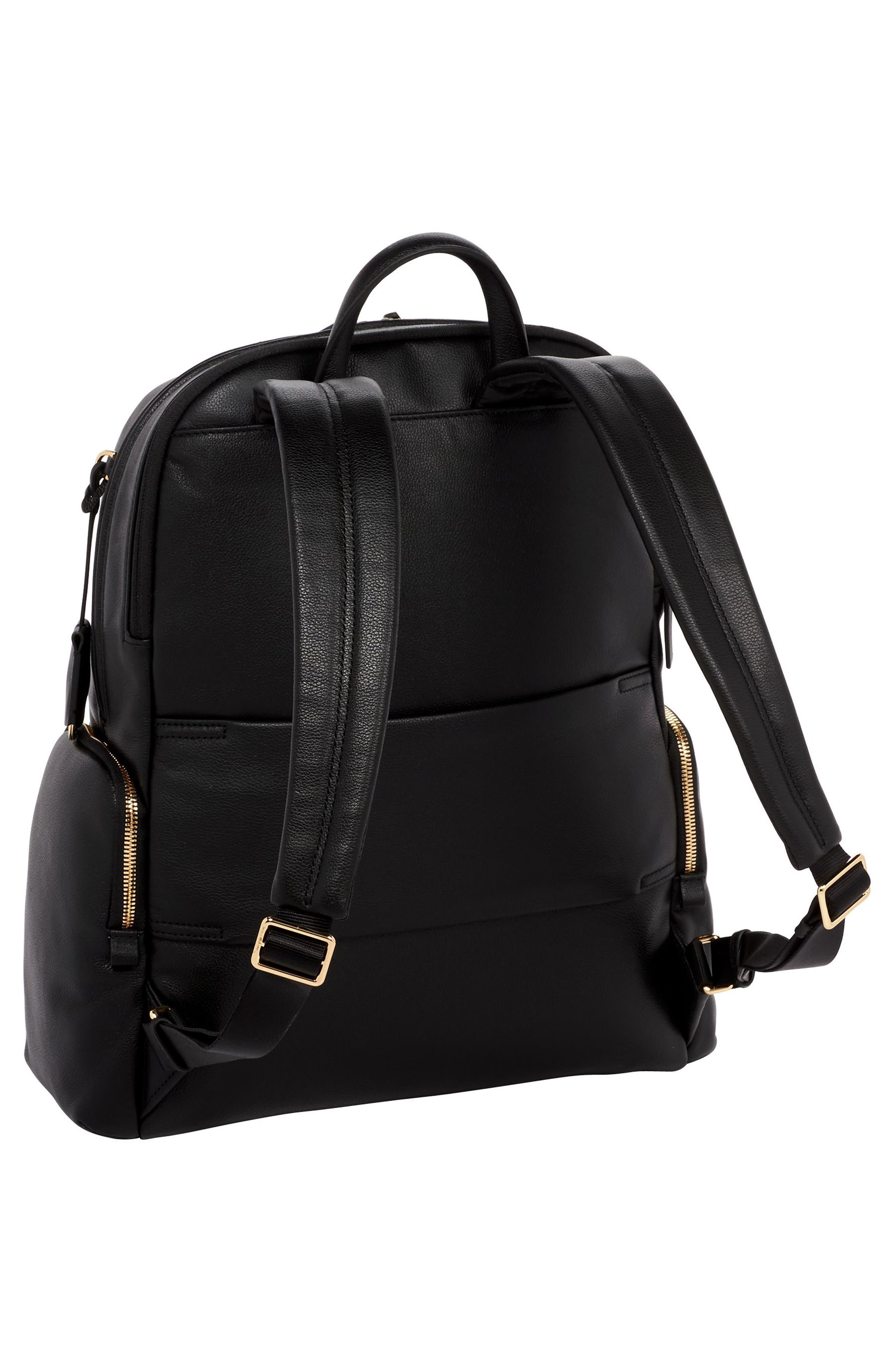 TUMI, Voyageur Carson Leather Backpack, Alternate thumbnail 3, color, BLACK