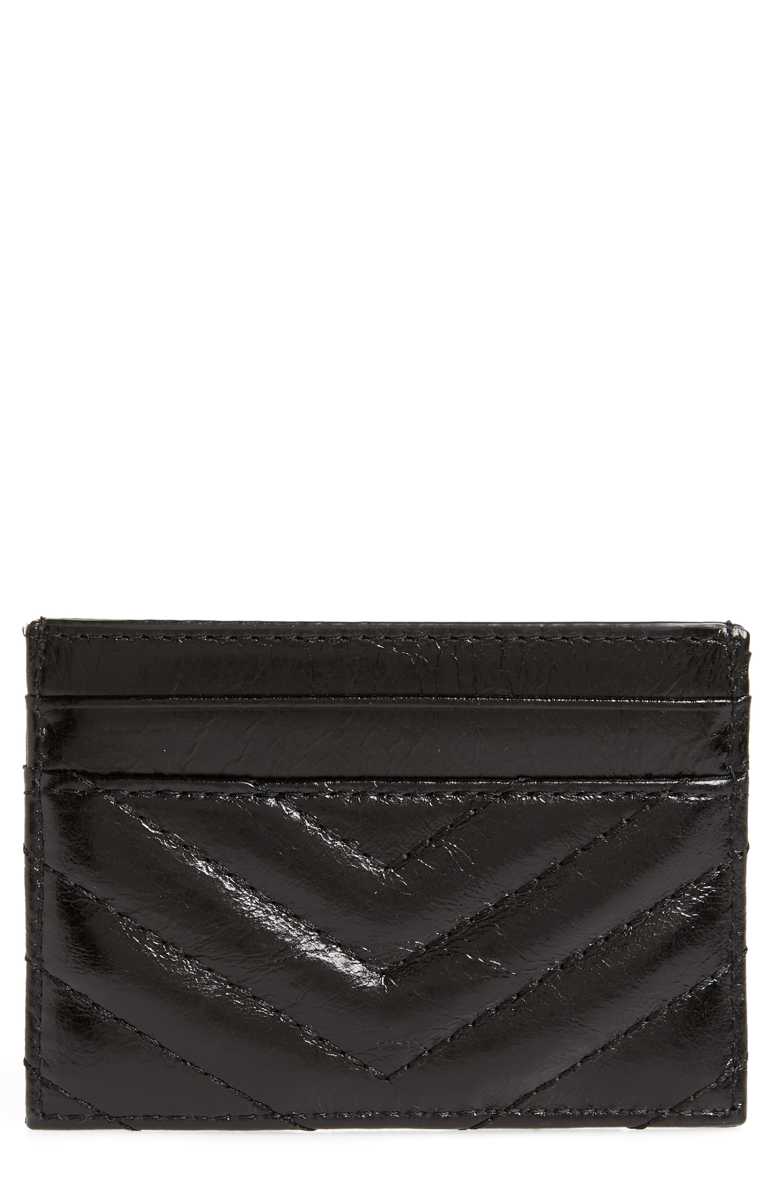 REBECCA MINKOFF, Edie Leather Card Case, Main thumbnail 1, color, 001