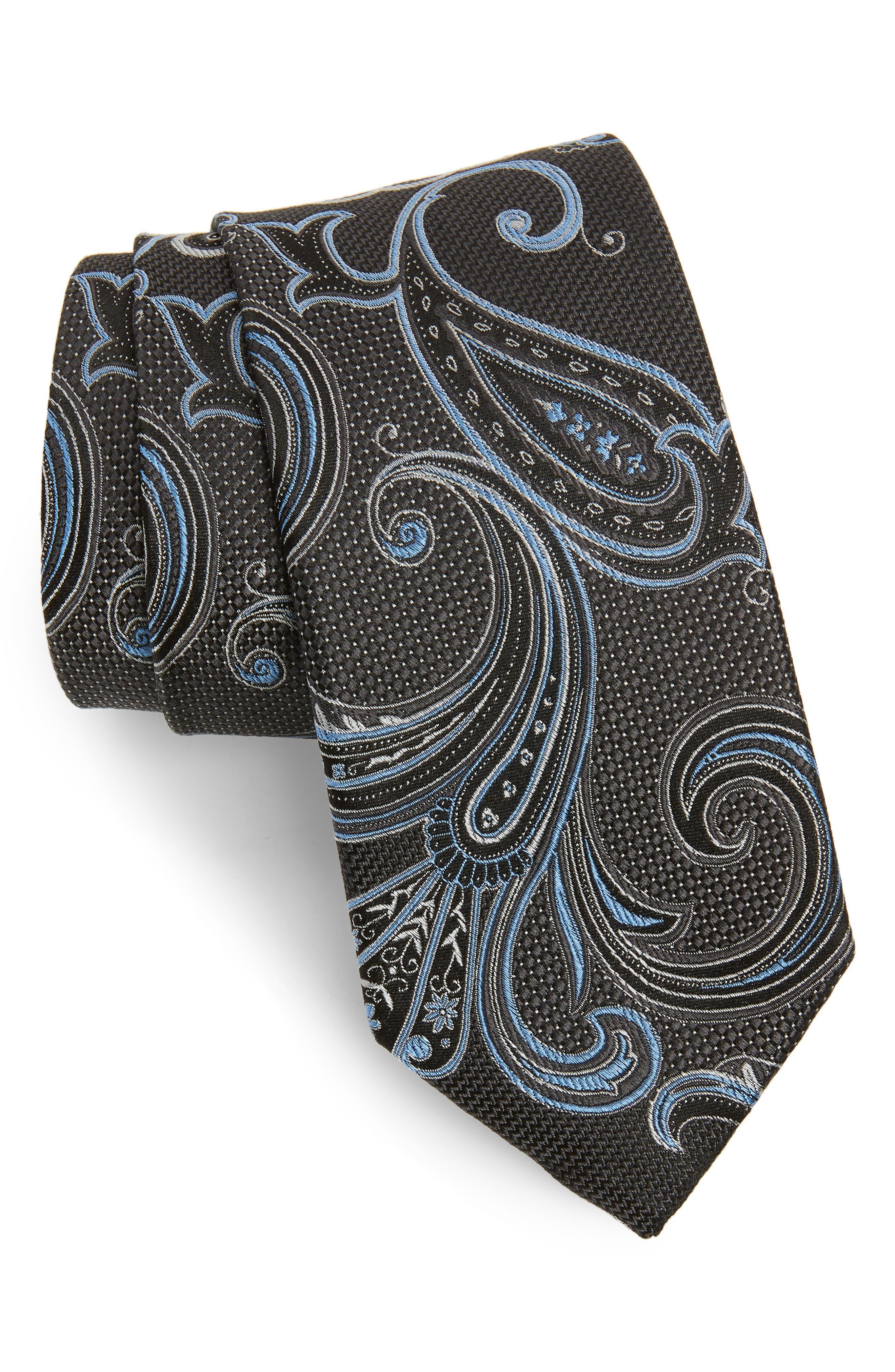NORDSTROM MEN'S SHOP, Bryce Paisley Silk Tie, Main thumbnail 1, color, CHARCOAL
