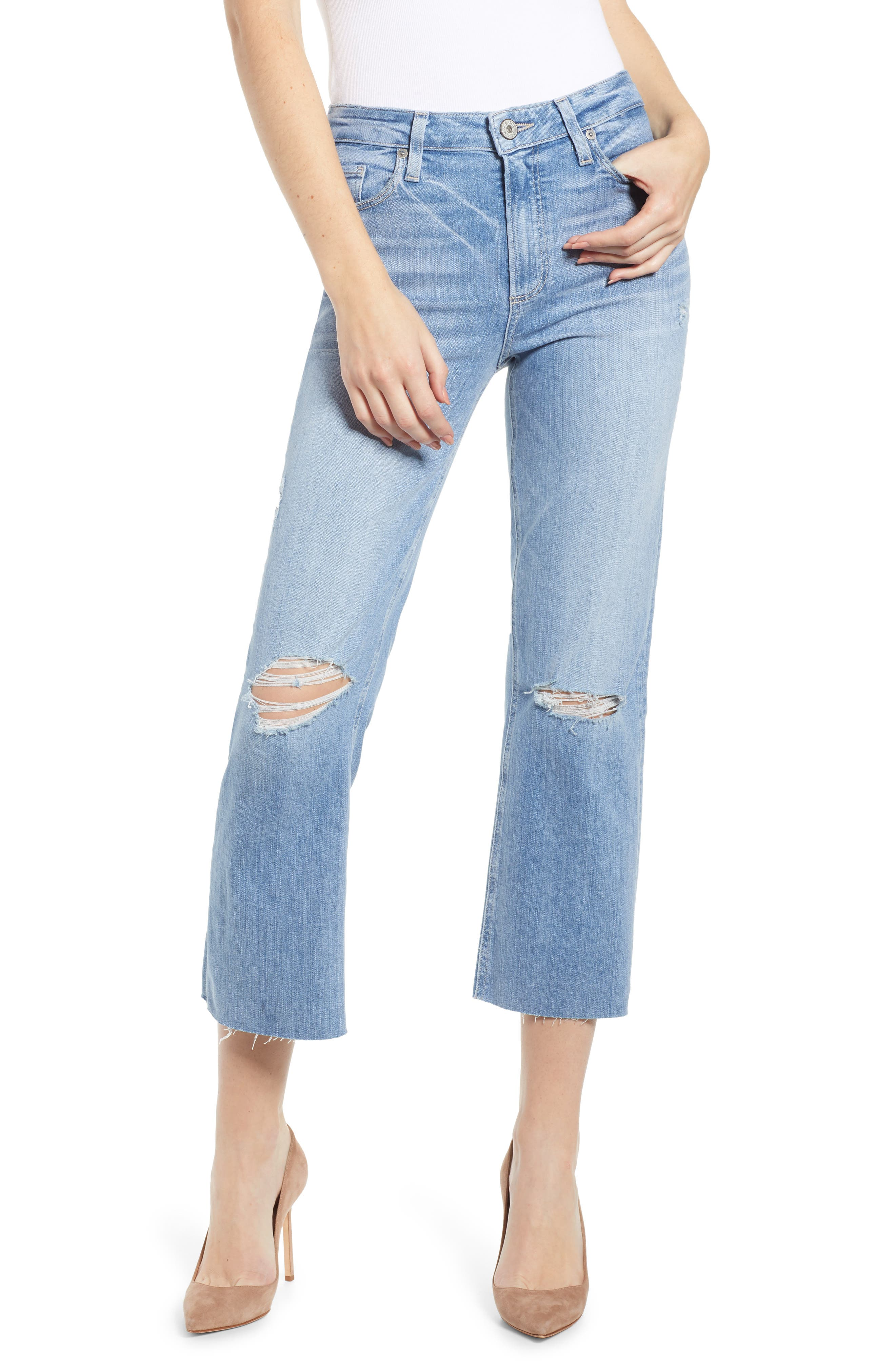 PAIGE, Atley Ripped Raw Hem Ankle Flare Jeans, Main thumbnail 1, color, FLORETTA DESTRUCTED