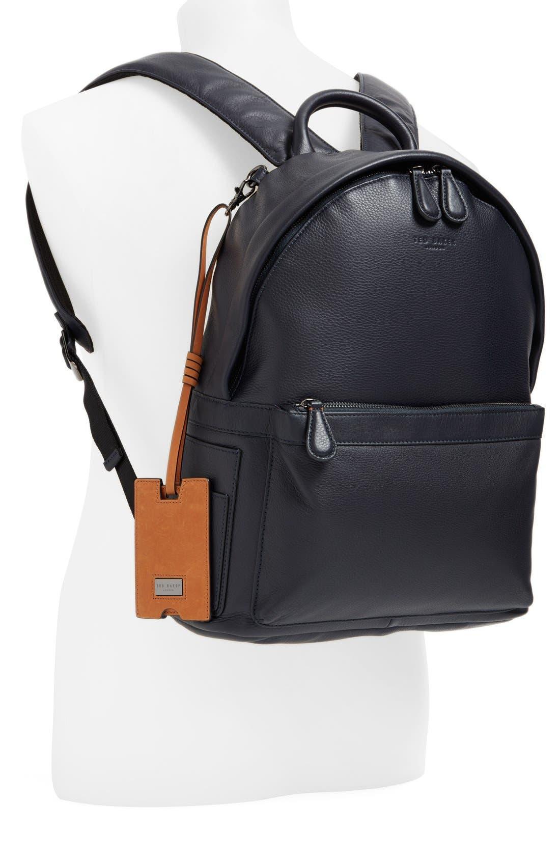 TED BAKER LONDON, 'Dollar' Leather Backpack, Alternate thumbnail 2, color, 410