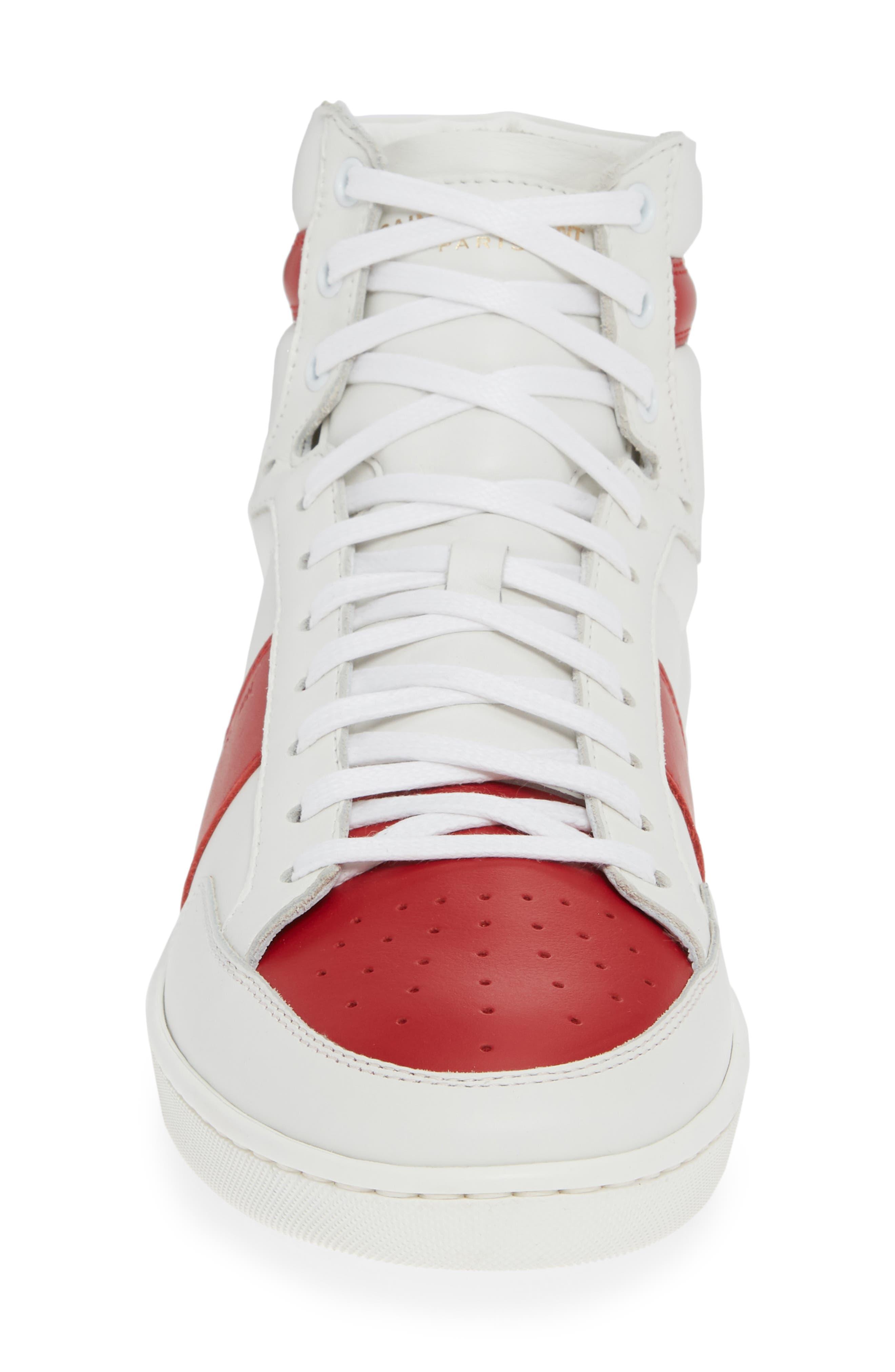 SAINT LAURENT, SL/10H Signature Court Classic High-Top Sneaker, Alternate thumbnail 4, color, WHITE/ MULTI