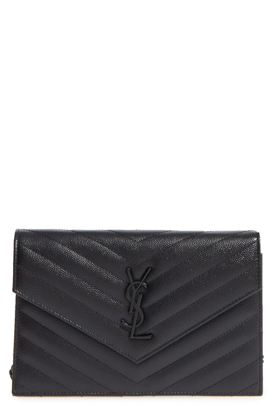 SAINT LAURENT Quilted Leather Wallet on a Chain, Main, color, NERO