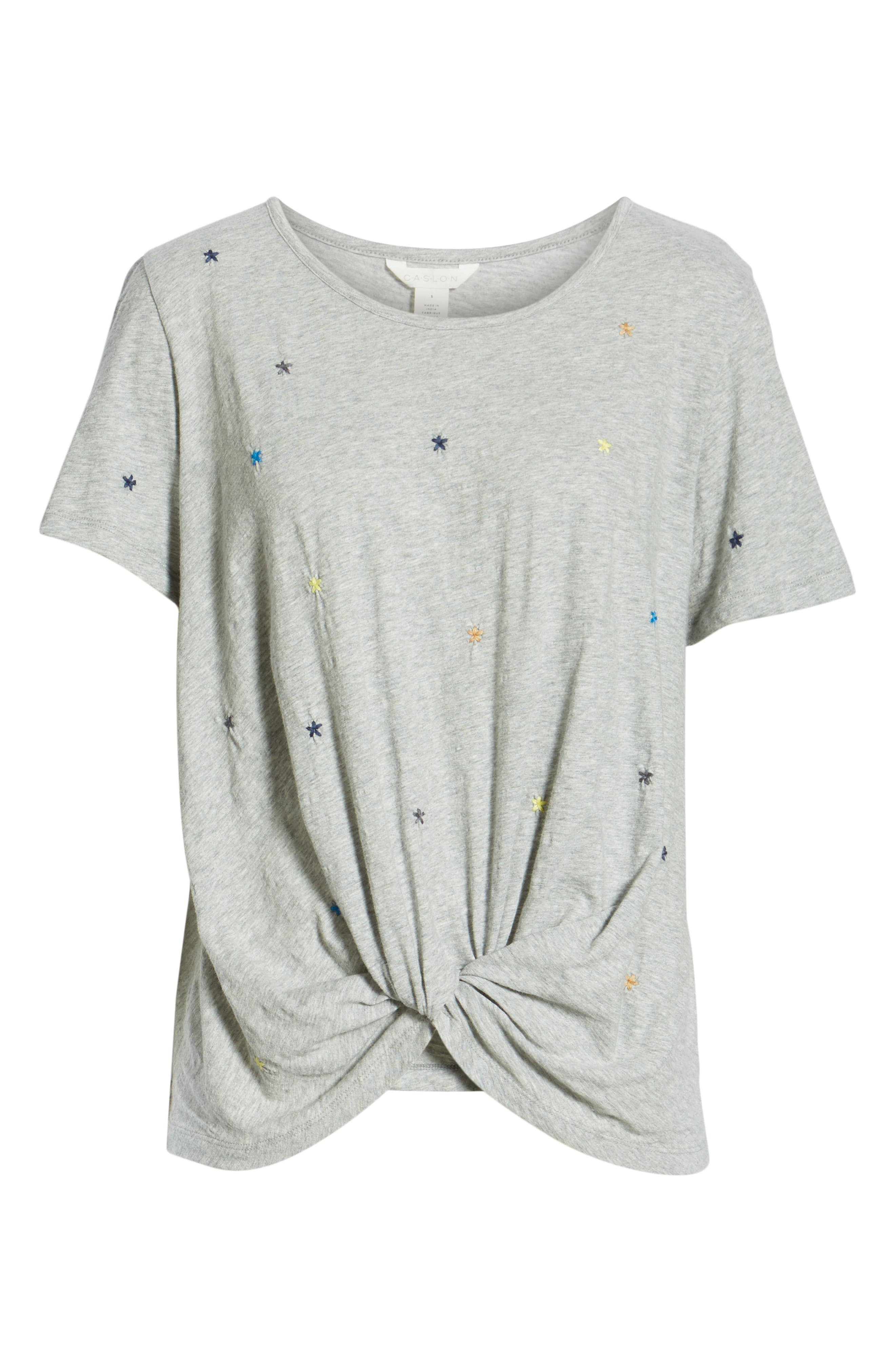CASLON<SUP>®</SUP>, Embroidered Twist Front Top, Alternate thumbnail 6, color, GREY HEATHER