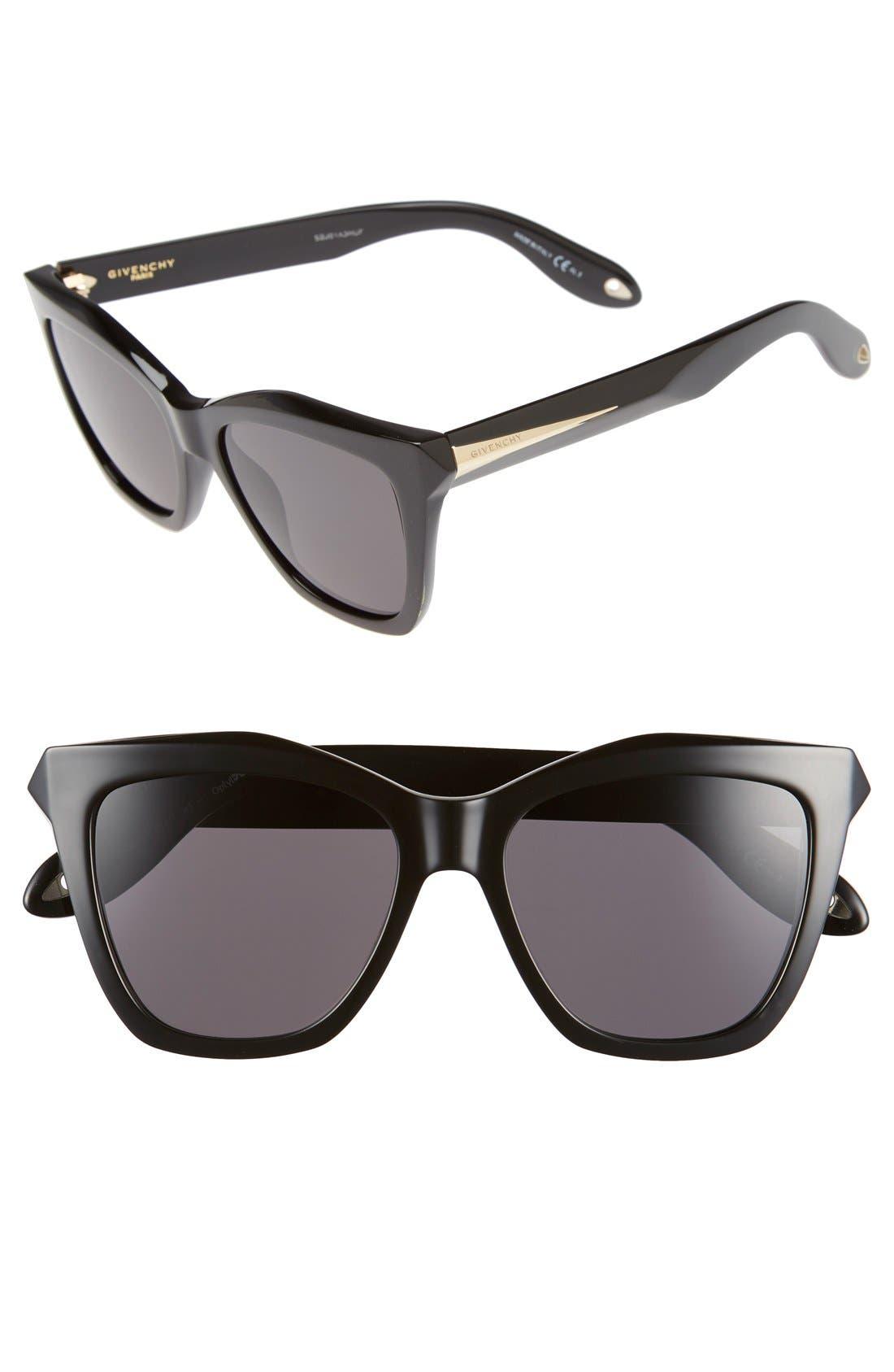 GIVENCHY, 53mm Cat Eye Sunglasses, Main thumbnail 1, color, 001