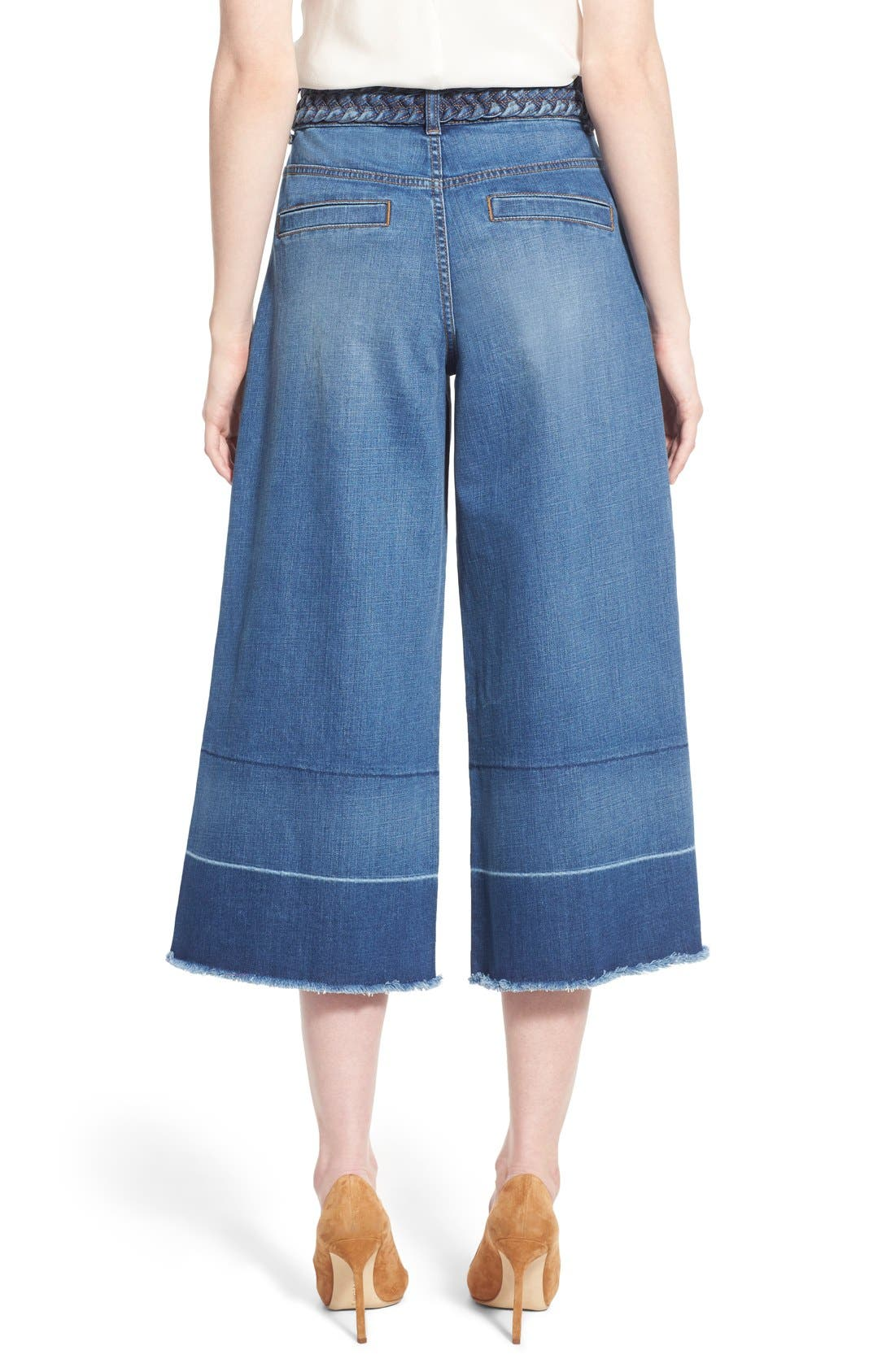 OLIVIA PALERMO + CHELSEA28, High Rise Denim Culottes, Alternate thumbnail 6, color, 410