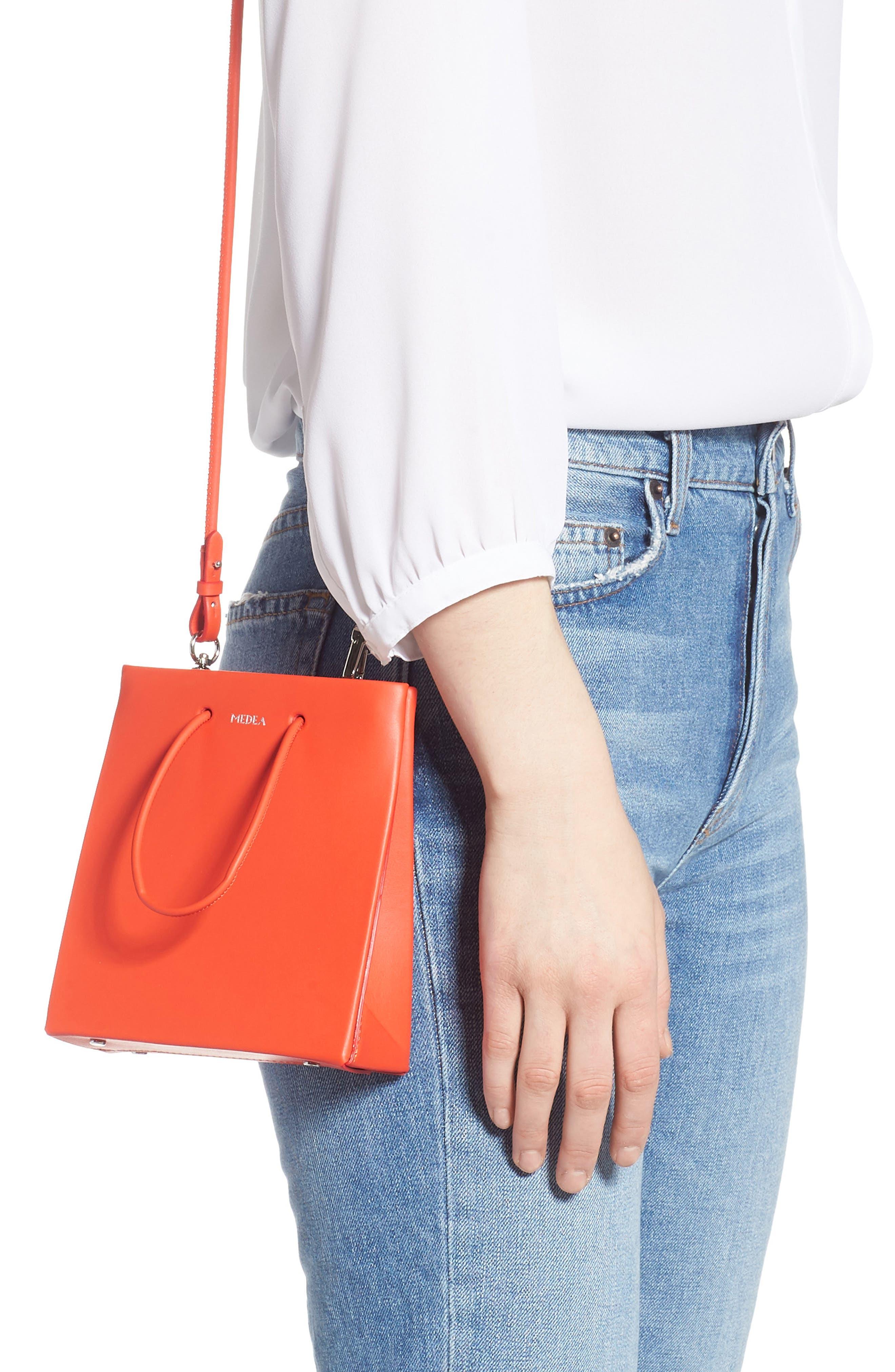 MEDEA, Prima Short Calfskin Leather Bag, Alternate thumbnail 2, color, ORANGE