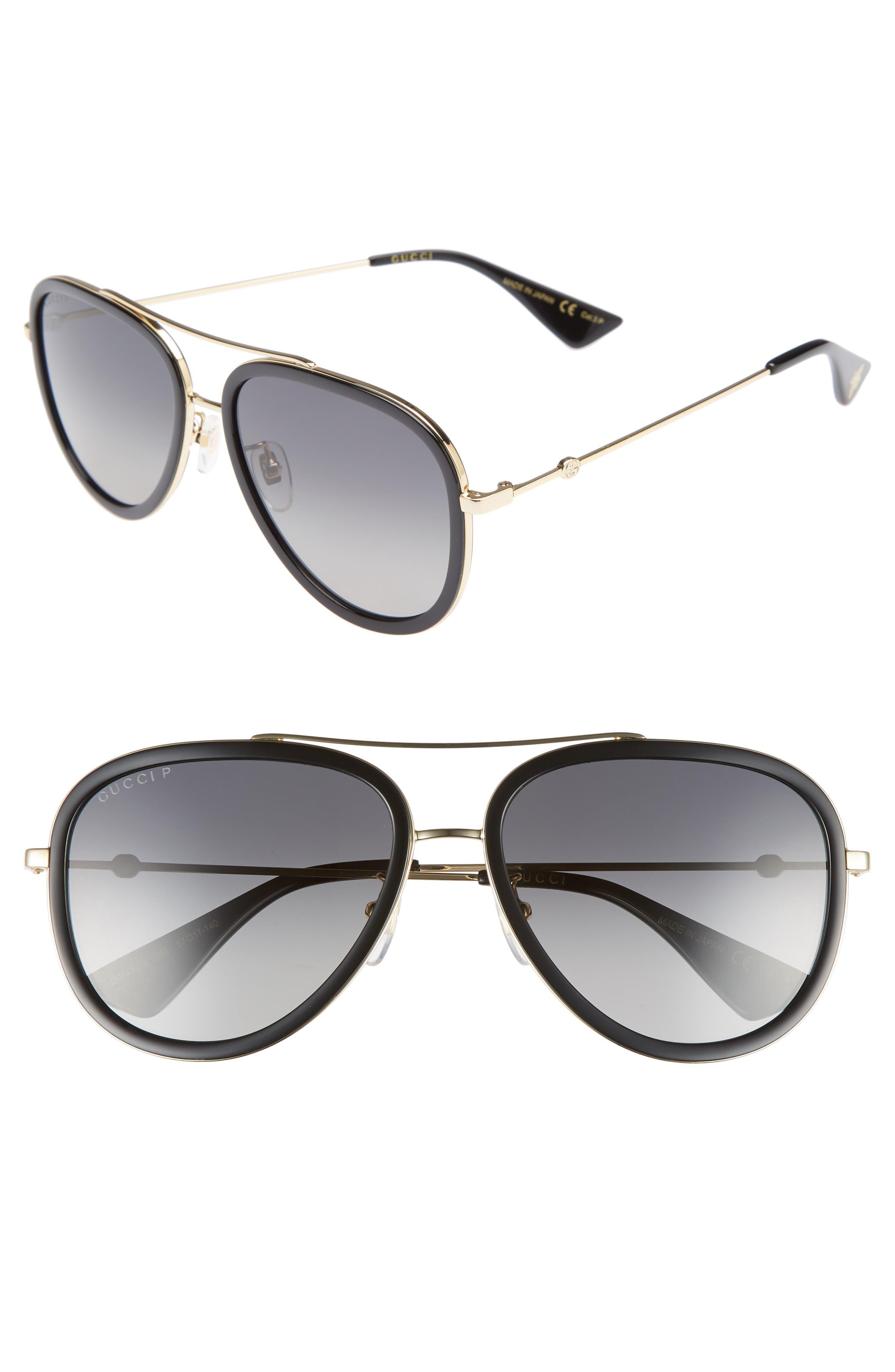 GUCCI, 57mm Polarized Metal Aviator Sunglasses, Main thumbnail 1, color, 710