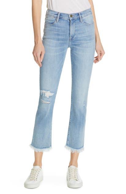Frame Jeans LE HIGH FRAYED HEM CROP STRAIGHT LEG JEANS