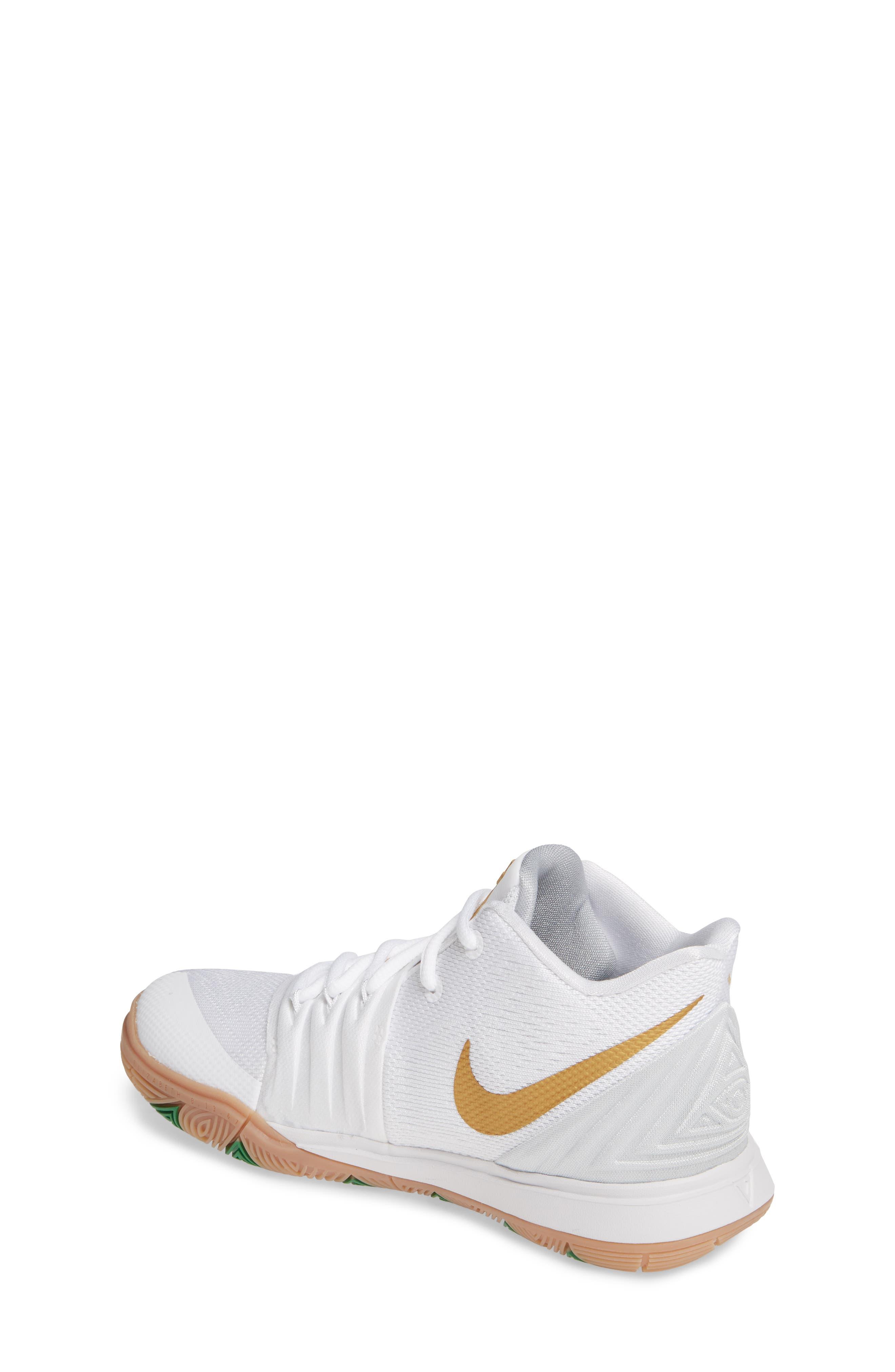 NIKE, Kyrie 5 Basketball Shoe, Alternate thumbnail 2, color, WHITE/ METALLIC GOLD-PLATINUM