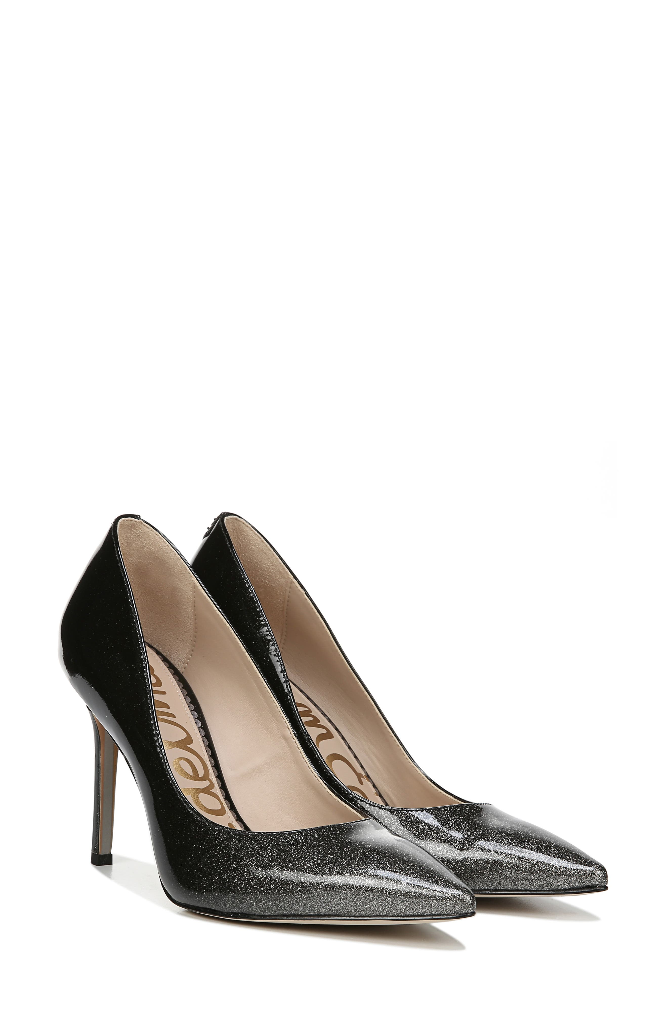 SAM EDELMAN, Hazel Pointy Toe Pump, Alternate thumbnail 7, color, BLACK/ SILVER