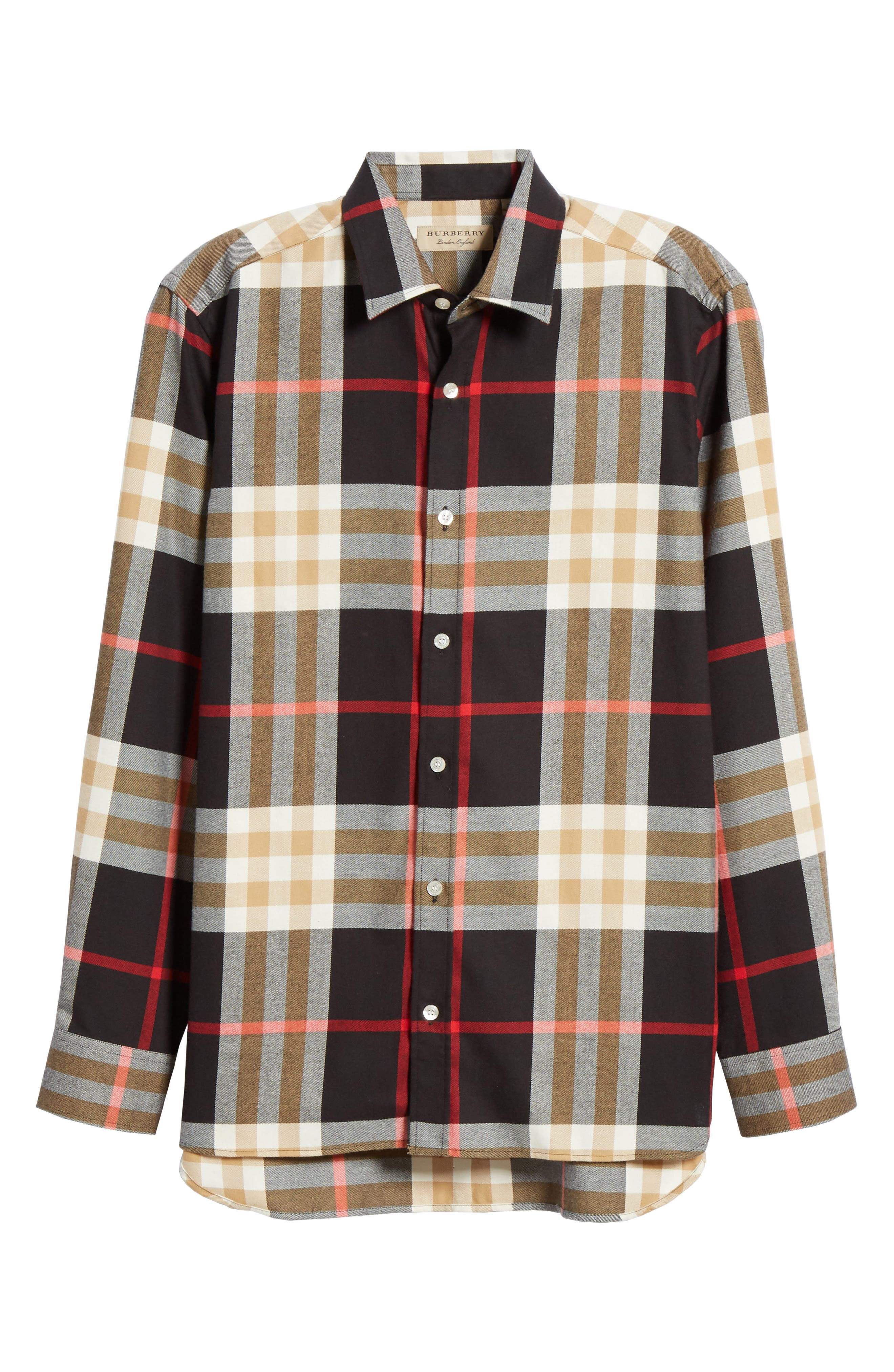 BURBERRY, Richard Slim Fit Plaid Sport Shirt, Alternate thumbnail 5, color, BLACK CHECK