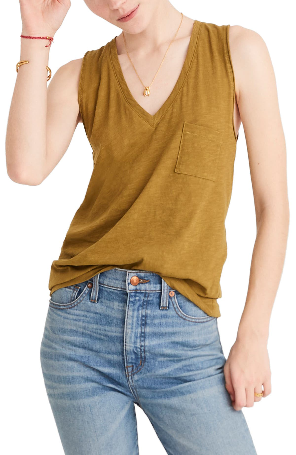 7a1987889c99a Madewell Whisper Cotton V-Neck Tank