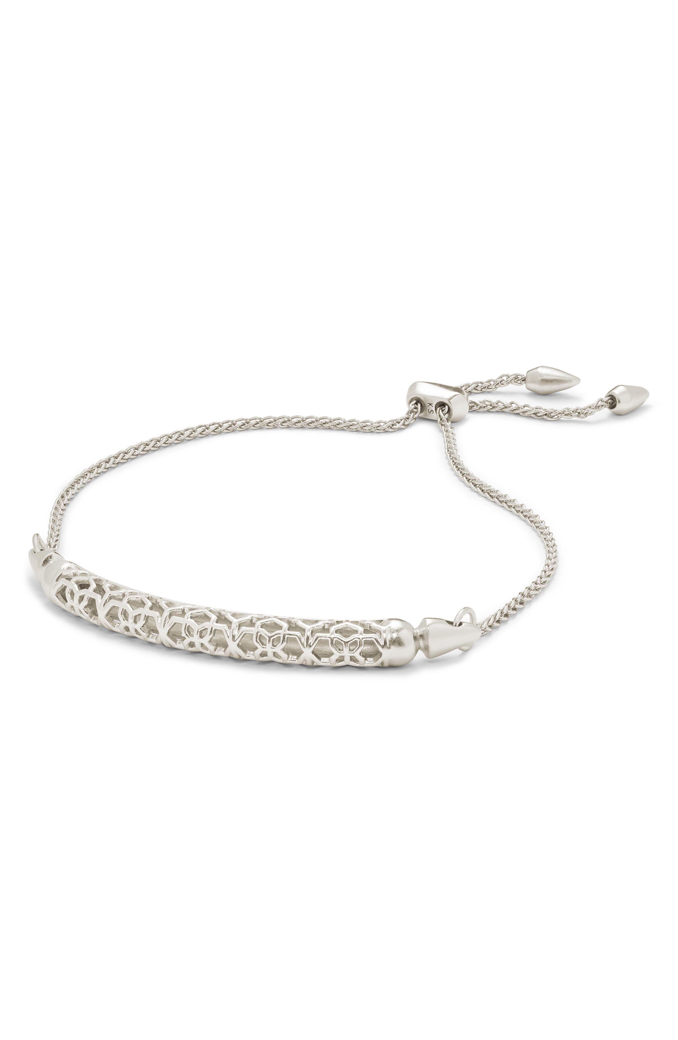 KENDRA SCOTT, Gilly Adjustable Bracelet, Alternate thumbnail 2, color, SILVER FILIGREE