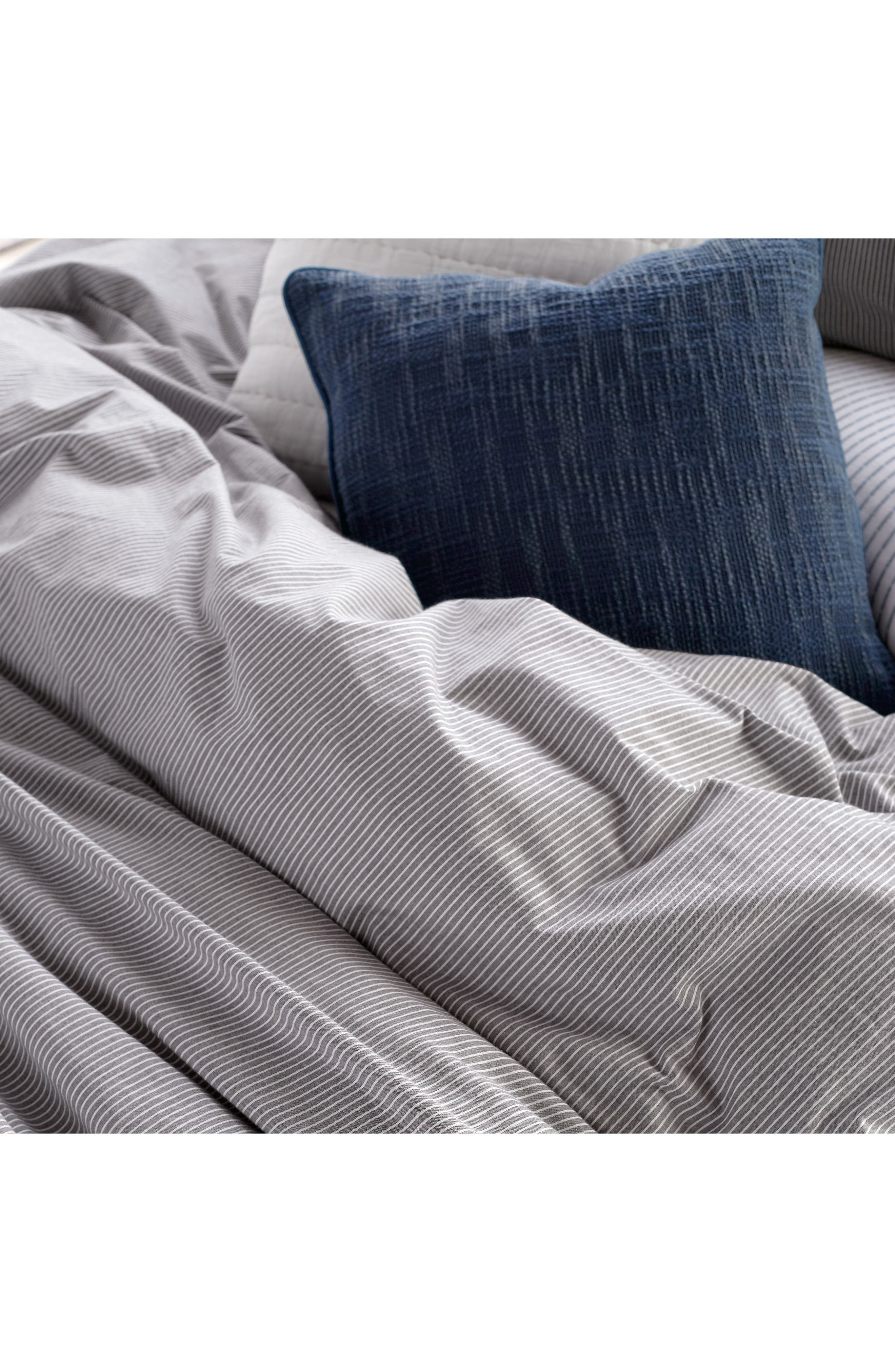 DKNY, PURE Stripe 144 Thread Count Duvet Cover, Alternate thumbnail 3, color, GREY