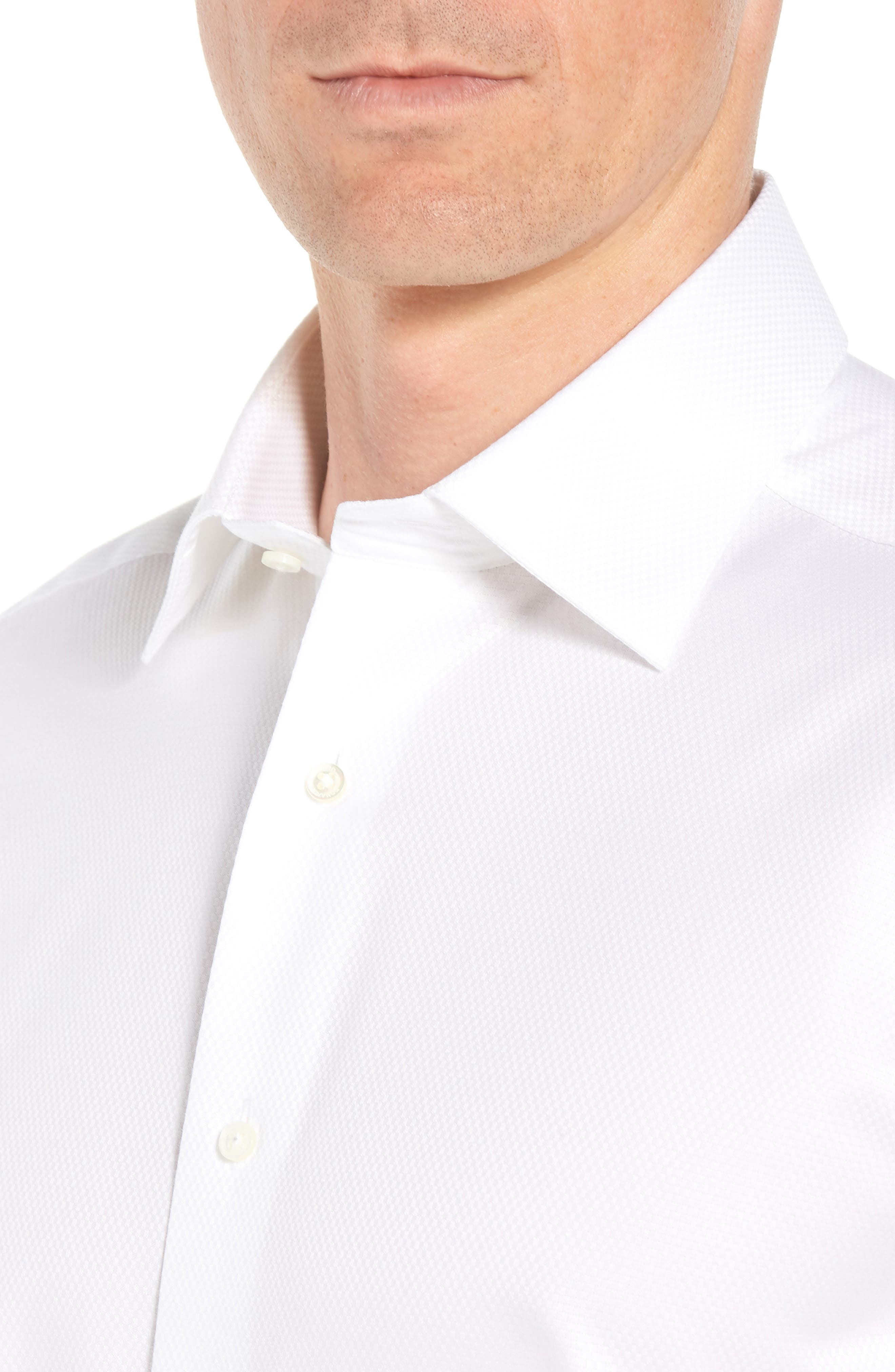 DAVID DONAHUE, Regular Fit Solid French Cuff Tuxedo Shirt, Alternate thumbnail 2, color, WHITE / WHITE