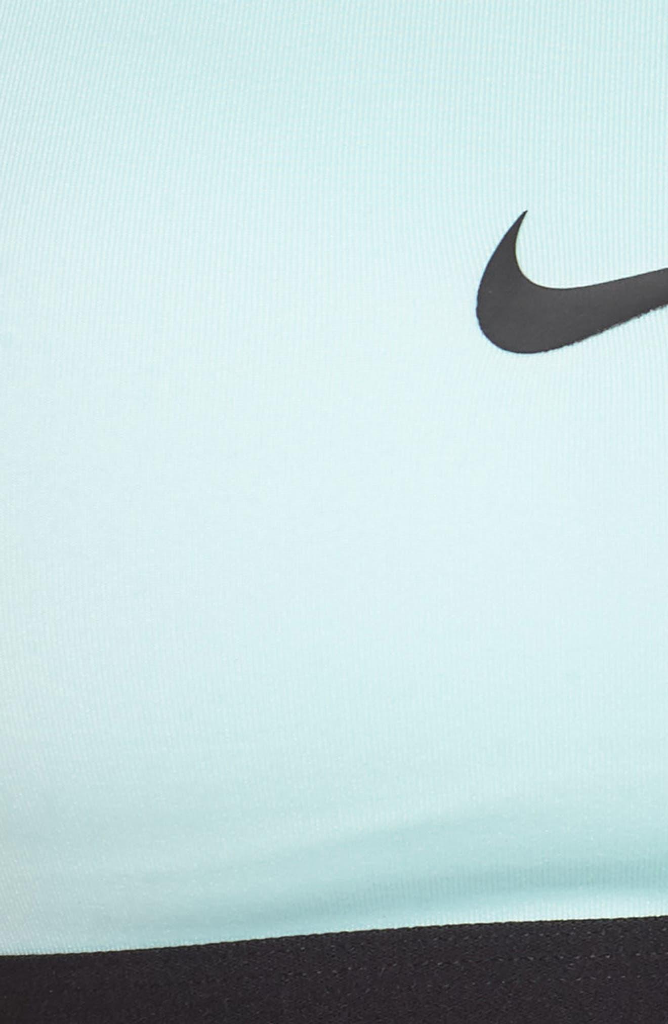NIKE, 'Pro Classic' Dri-FIT Padded Sports Bra, Alternate thumbnail 6, color, TEAL TINT/ BLACK/ BLACK