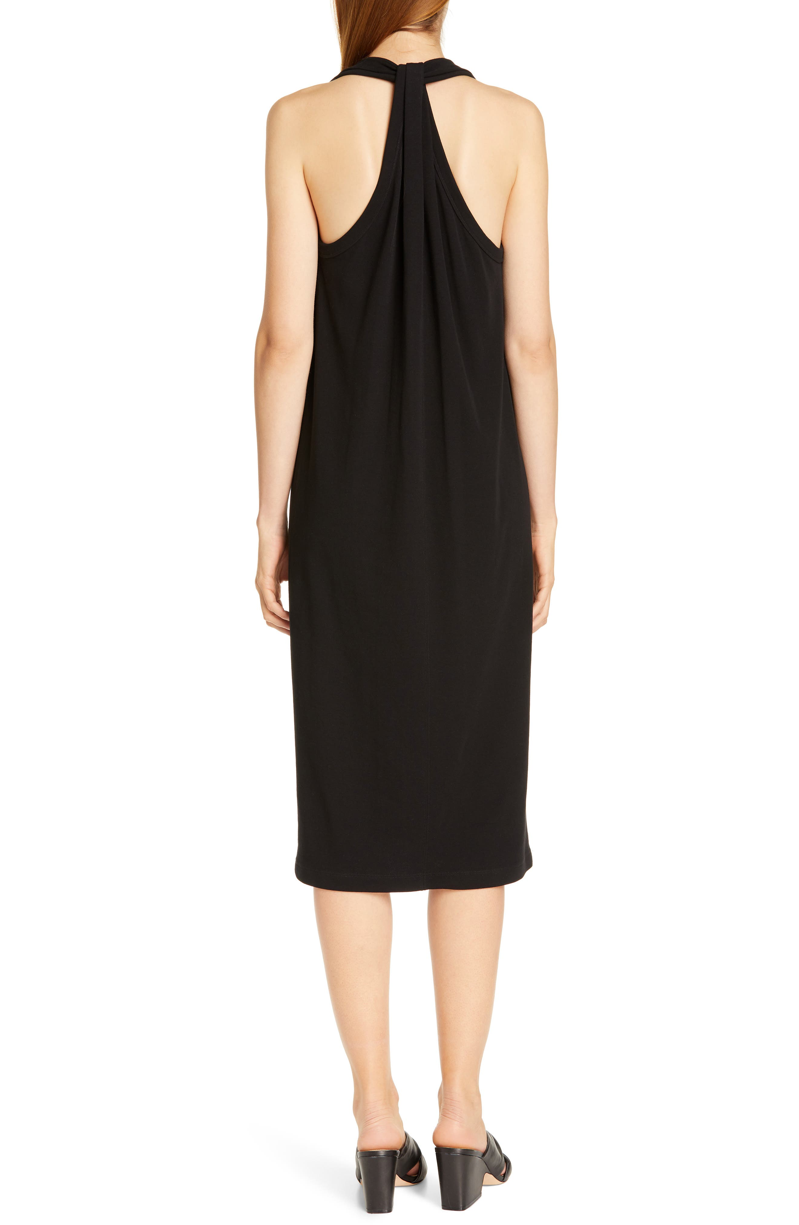 HELMUT LANG, Halter Neck Cotton Jersey Dress, Alternate thumbnail 2, color, BLACK