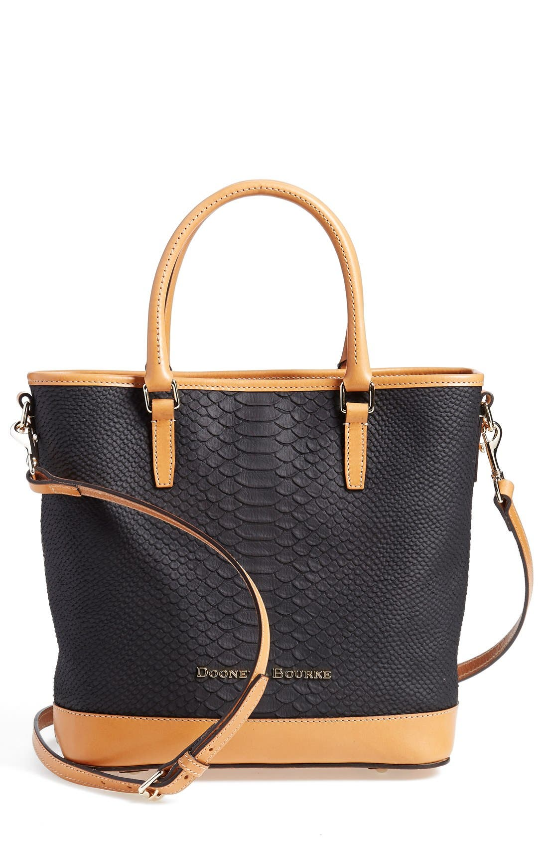 DOONEY & BOURKE, 'Cara' Snake Embossed Leather Satchel, Main thumbnail 1, color, 001