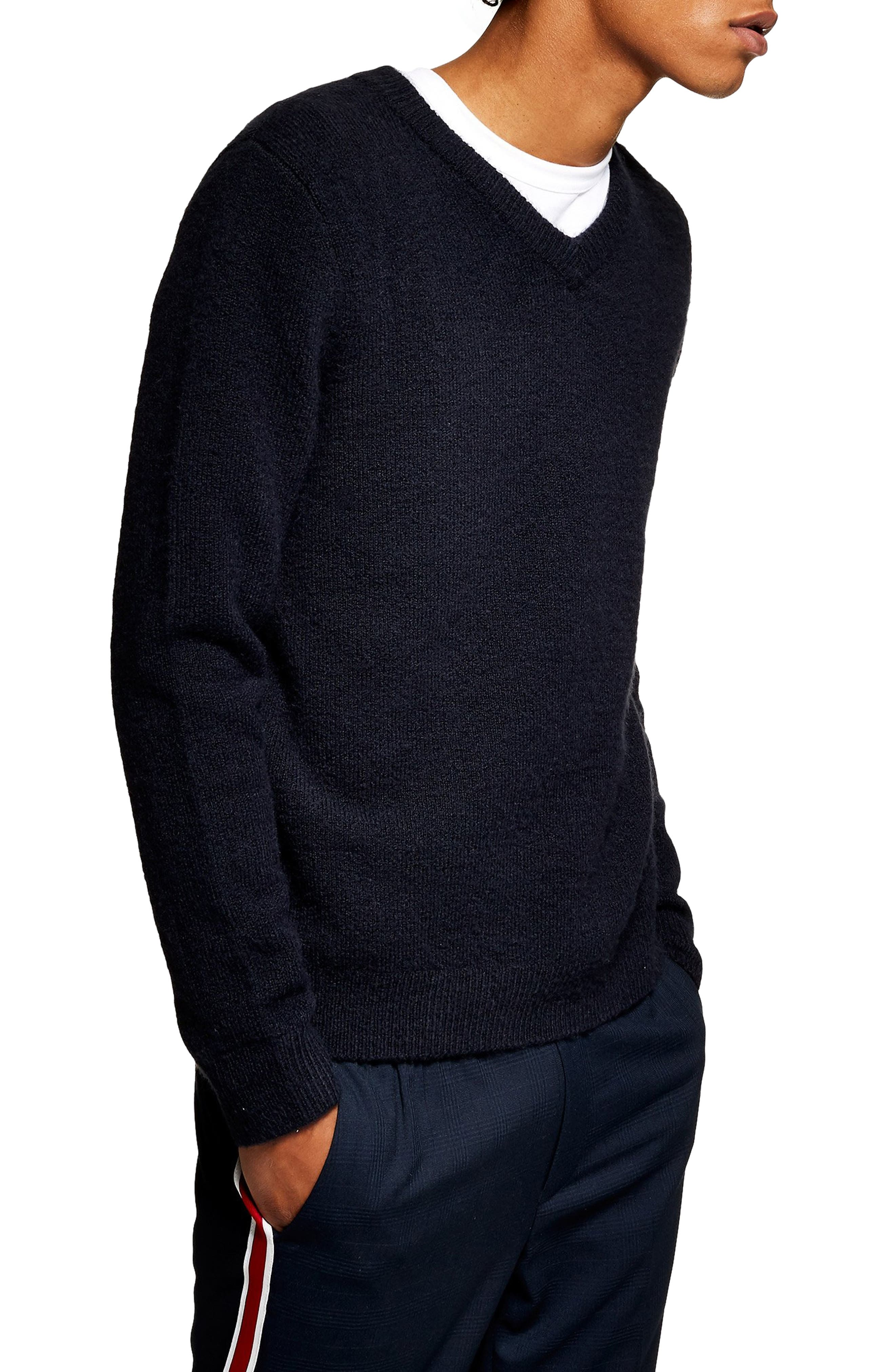 TOPMAN V-Neck Sweater, Main, color, 411
