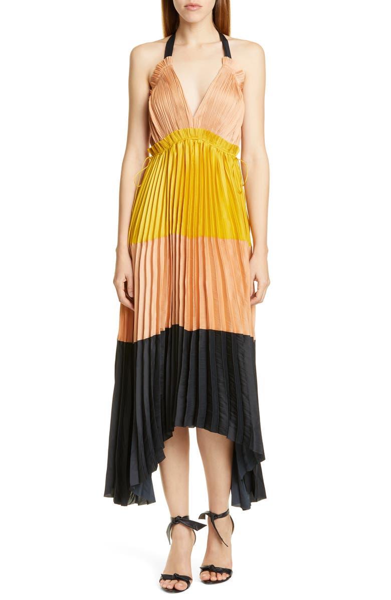 Ulla Johnson Dresses Gisella Colorblock Pleated Maxi Dress