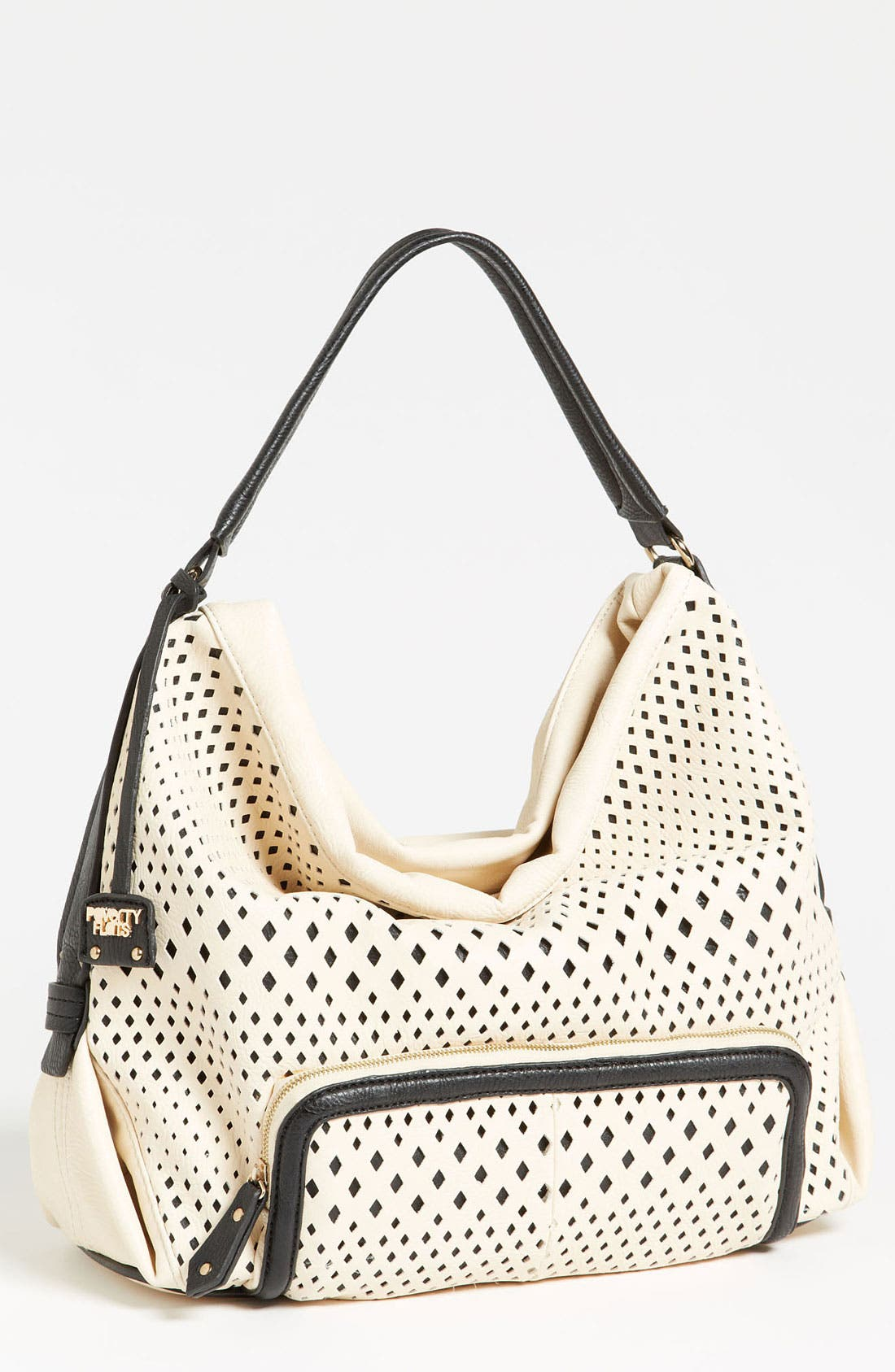 POVERTY FLATS BY RIAN Perforated Faux Leather Shoulder Bag, Main, color, 001