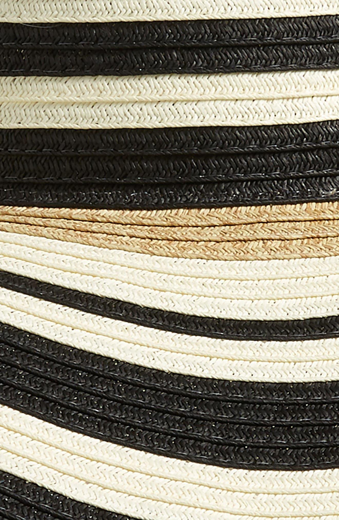 NORDSTROM, Modern Stripe Floppy Hat, Alternate thumbnail 2, color, BLACK COMBO