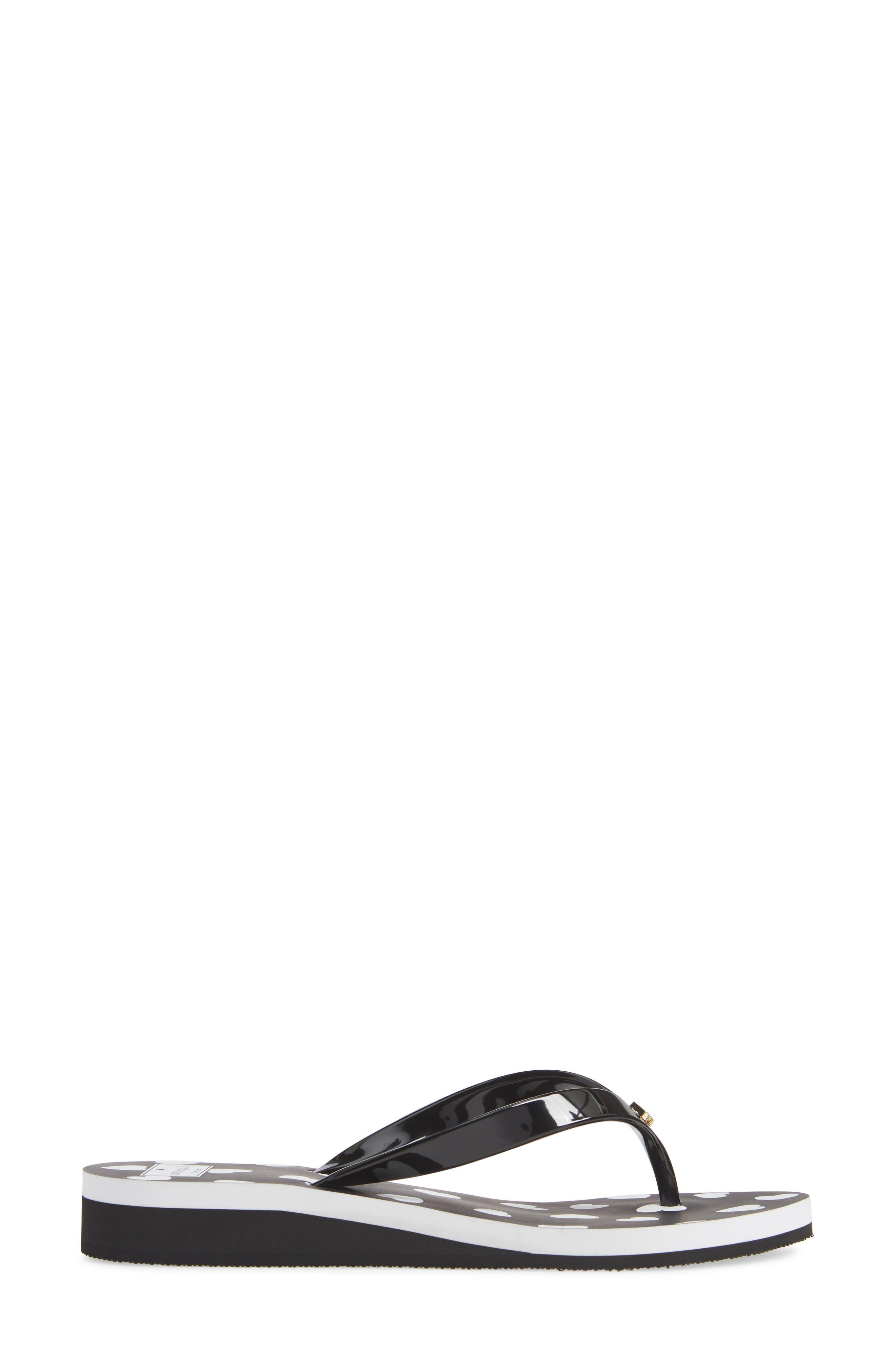 KATE SPADE NEW YORK, milli wedge flip-flop, Alternate thumbnail 3, color, BLACK/ WHITE HEART