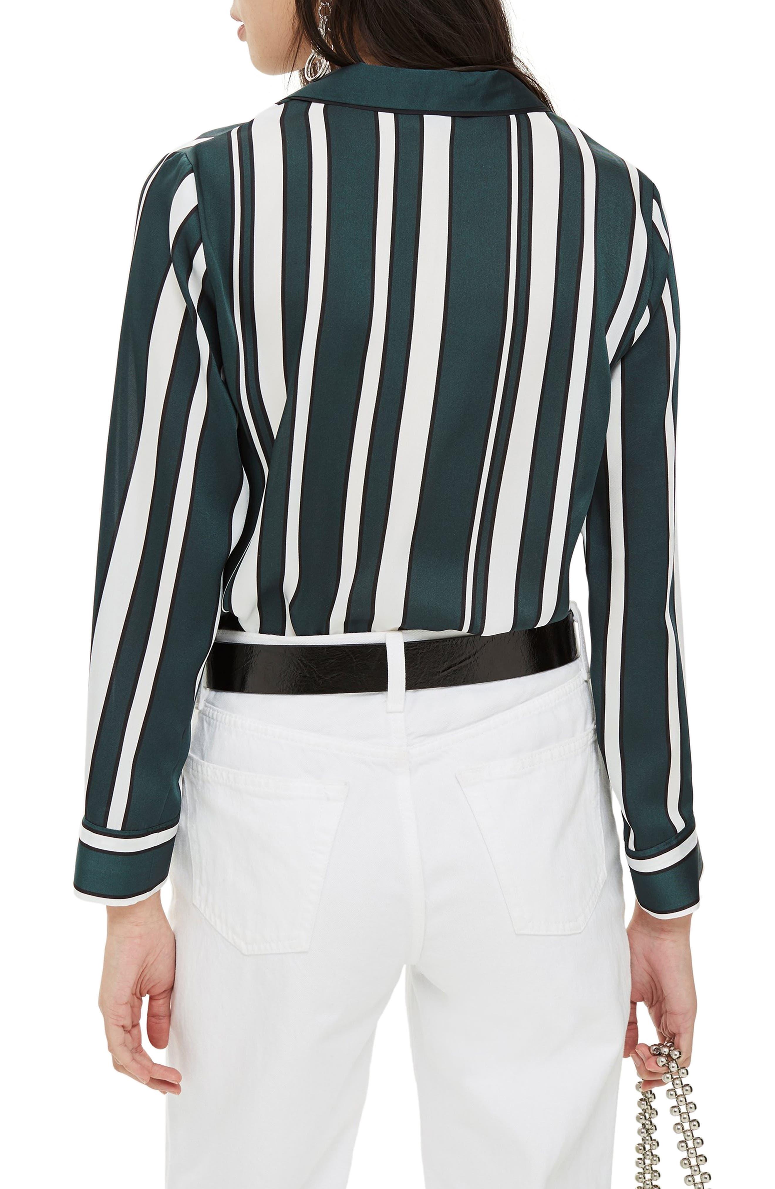 TOPSHOP, Stripe PJ Shirt, Alternate thumbnail 2, color, GREEN MULTI