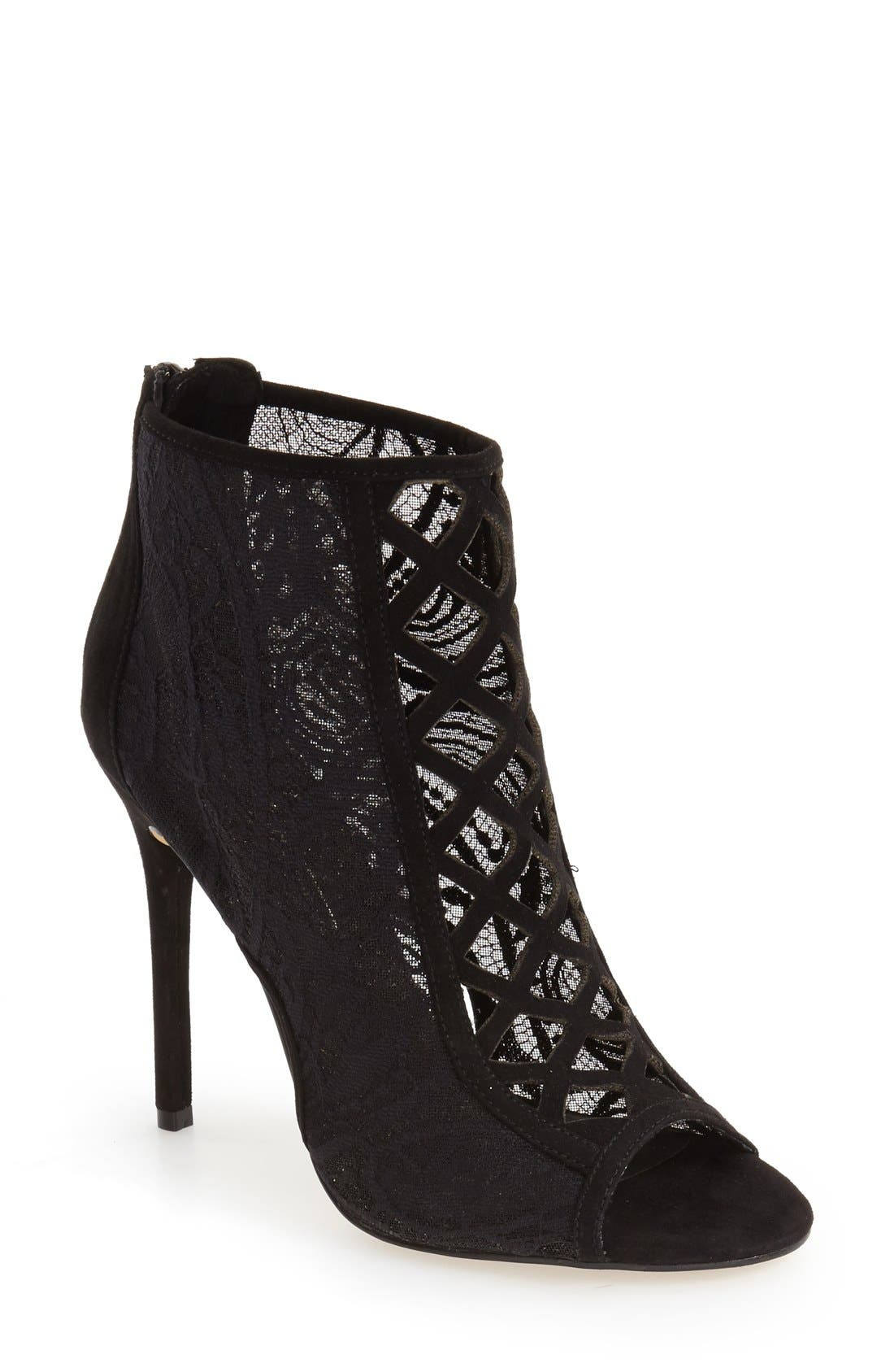 DAYA by Zendaya 'Angus' Lace Open Toe Bootie, Main, color, 008